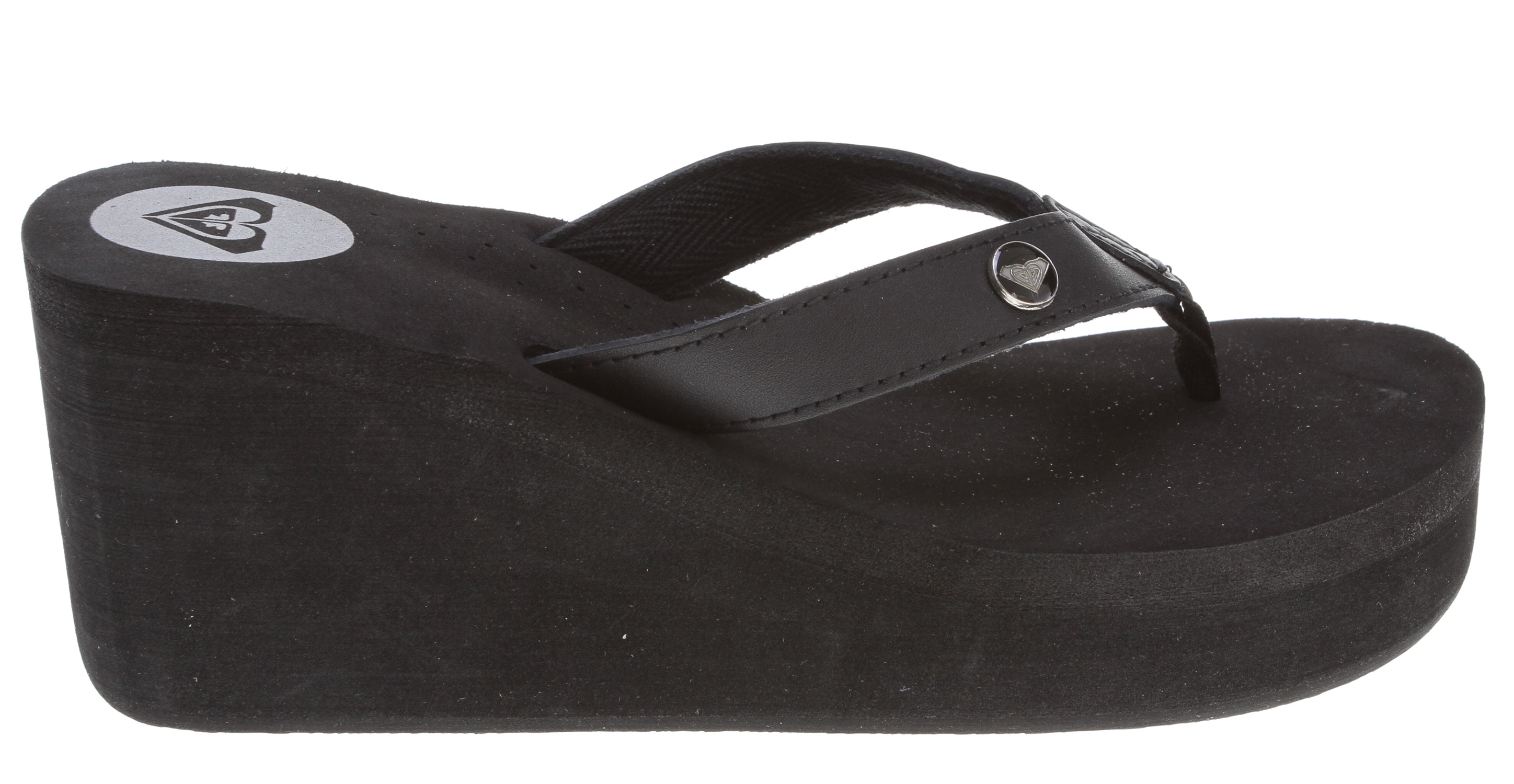 "Surf Key Features of the Roxy Pagoda Leather Sandal: skinny leather upper with poly-web toe post enamel logo pin contoured ""active foam footbed with metallic printed logo high EVA wedge EVA outsole hanging - $38.00"