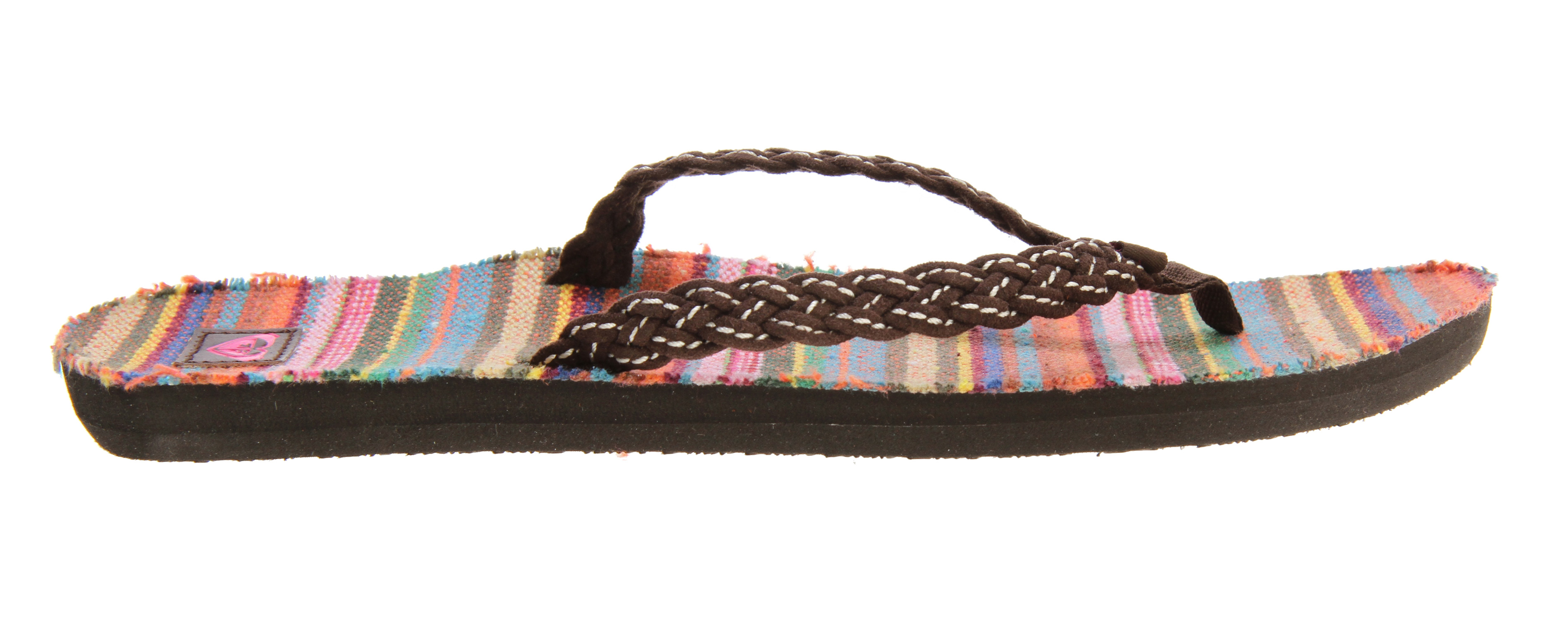 Surf Key Features of the Roxy Pinata Sandals:  Braided faux suede upper  Woven flag label  Ethnic yarn dyed textile sock  EVA outsole  Inked PU Roxy heart label - $23.95