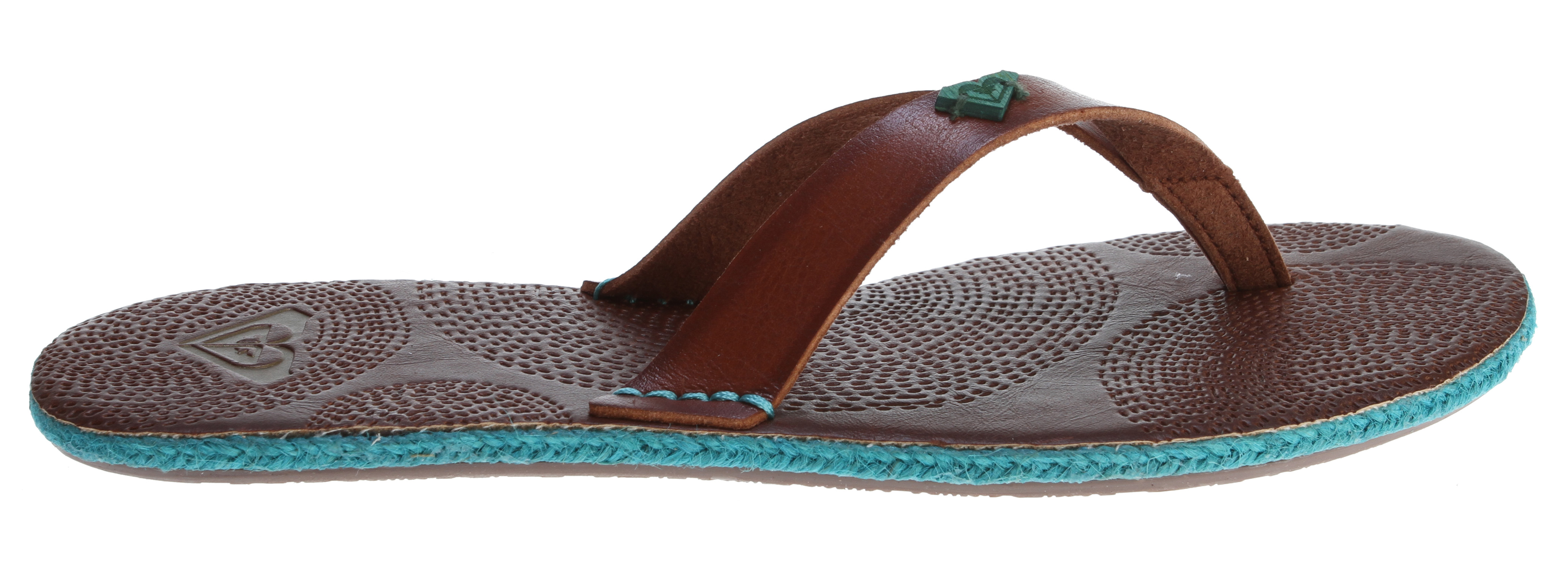Surf Key Features of the Roxy Santorini Sandals: Soft synthetic upper with wood logo detail Embossed footbed Rope wrap detail around side wall Soft EVA insole TPR outsole - $23.95