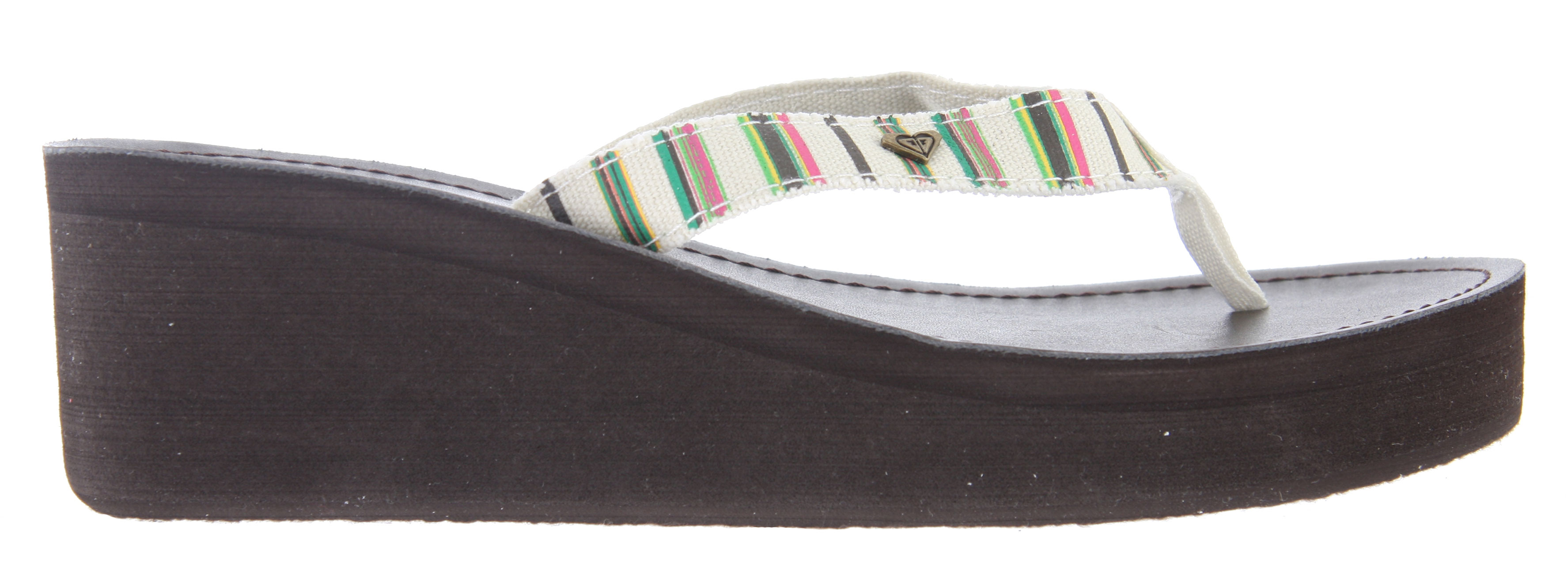 Surf Key Features of the Roxy Siesta Sandals: Soft printed canvas upper with frayed edges Soft poly-web toe post Metal heart pin Soft canvas insole with light contour Soft layer of eva under insole for comfort EVA wedge and outsole - $34.00