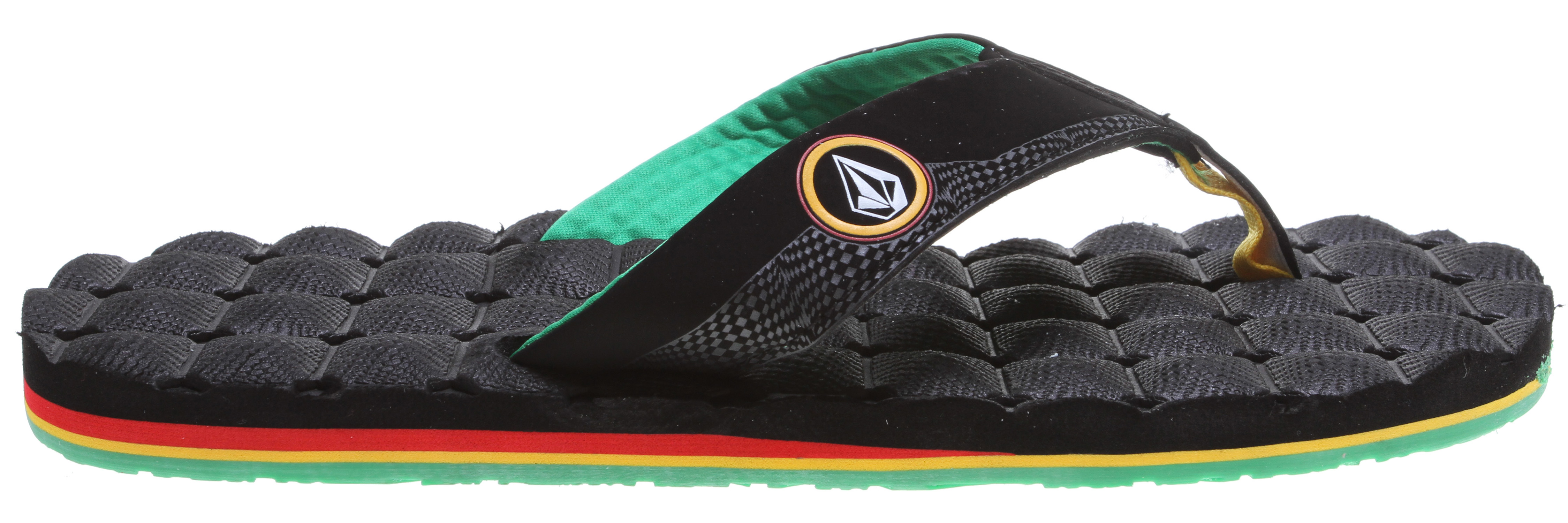 Surf Key Features of the Volcom Recliner Sandals: Synthetic Nubuck strap with deboss pattern, print logo details and molded textile lining Exceedingly soft molded top sole Contour molded, triple density EVA insole with arch support Molded outsole - $24.95