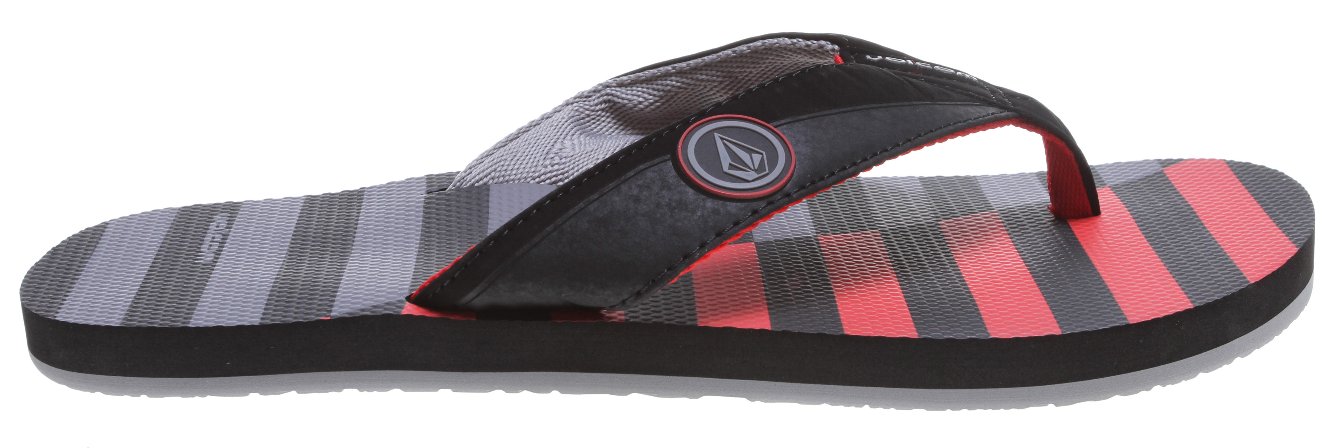 Surf Key Features of the Volcom Vocation Sandals: Synthetic Nubuck strap with high-density print logo, stitching details and webbing lining Textured, anatomical contour molded, dual density EVA top sole with arch support High density EVA outsole - $14.95