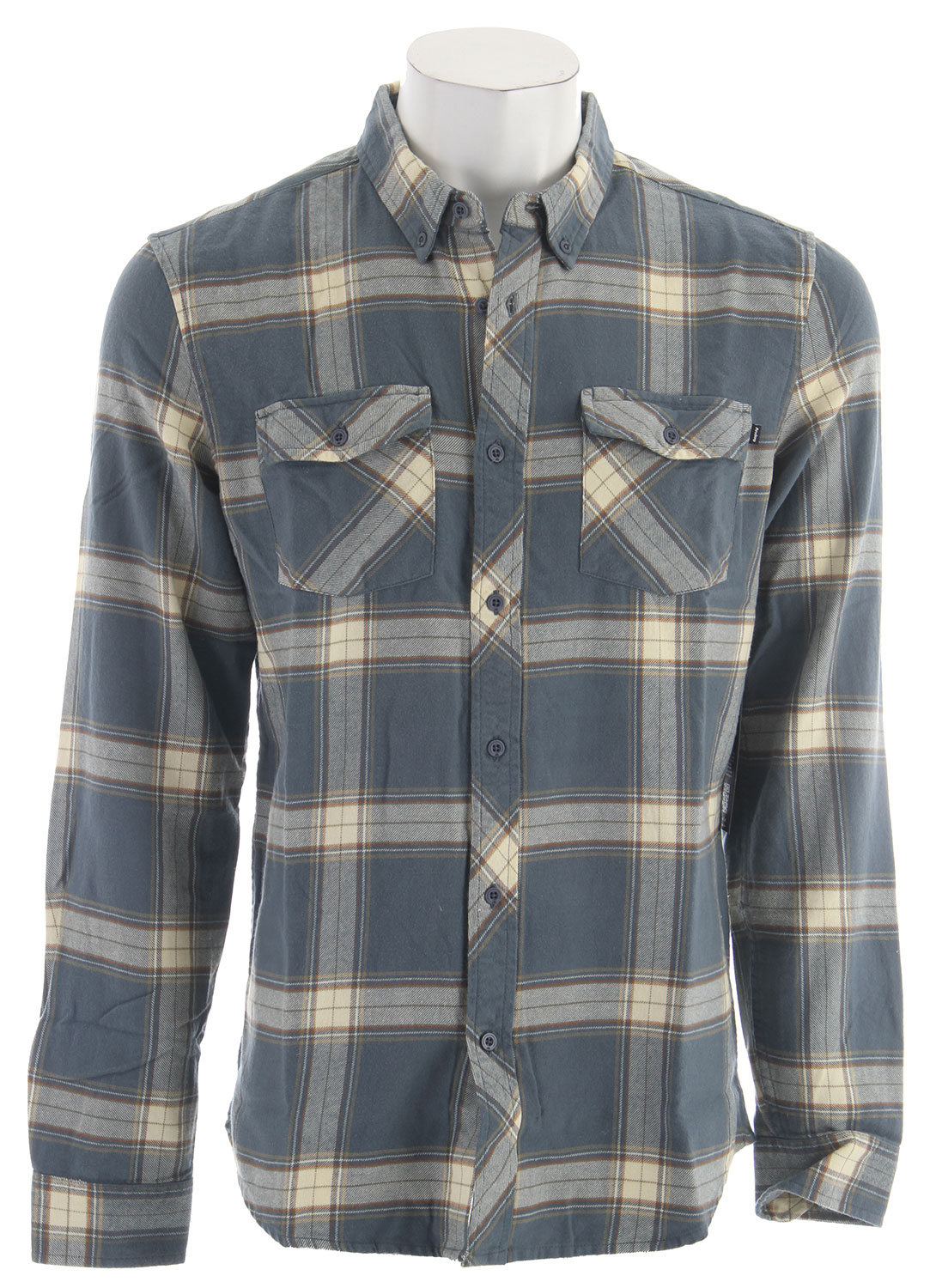 Guns and Military Key Features of the Analog Brody L/S Flannel Slim fit button front flannel shirt with double flap bias cut pockets and denim selvage taping detail at inner neck Classic mid scale brushed plaid with Wheel Wash and over dye finish on Navy and Cadet colorways 100% cotton - $38.95