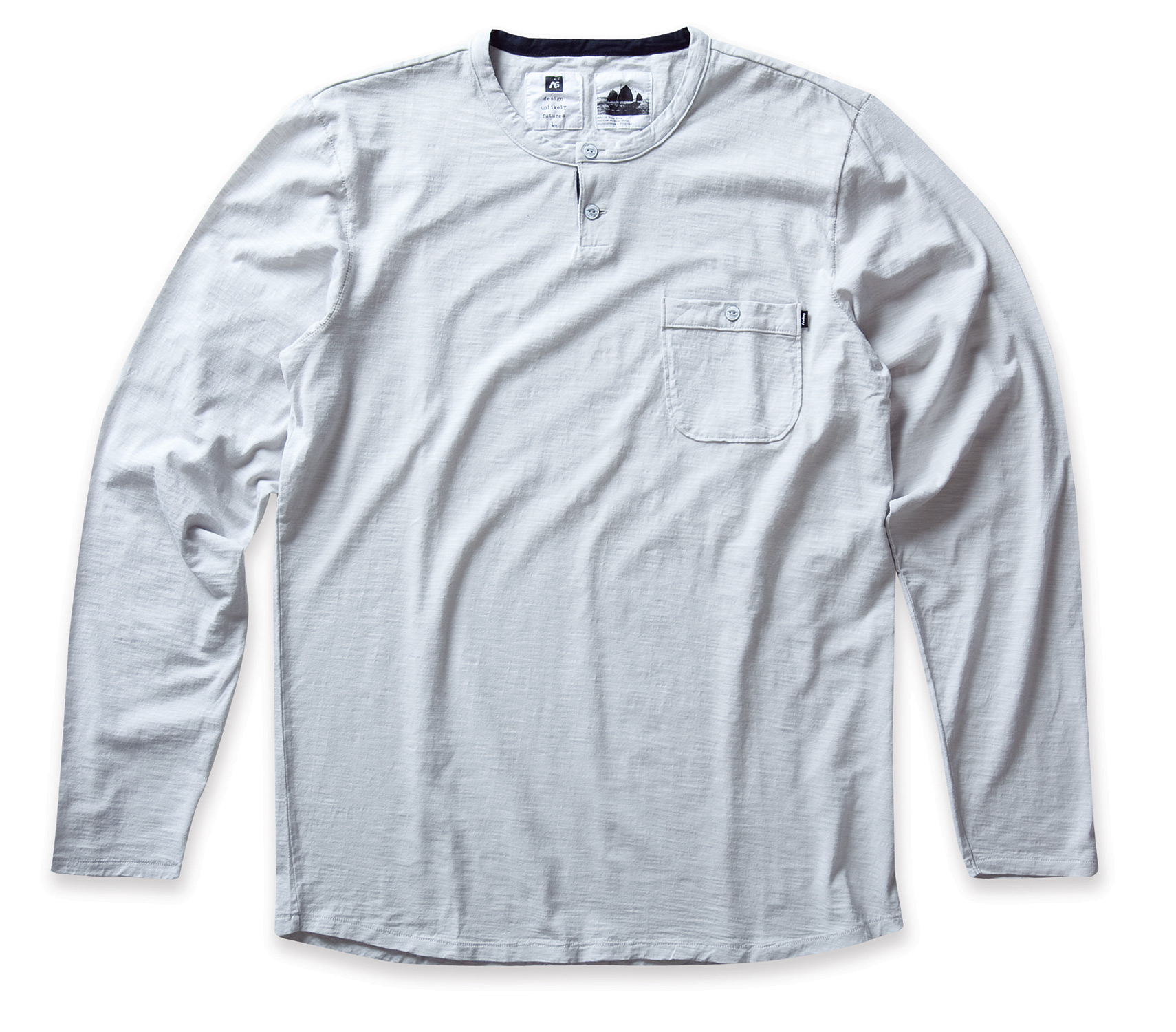 Key Features of the Analog Hastings L/S Crew Shirt: Slim fit custom 2 button henley neck with single button pocket and shaped hem Contrast inner neck piecing and back yoke detail with whipstitch throughout 100% cotton slub jersey with garment wash and softeners - $26.95