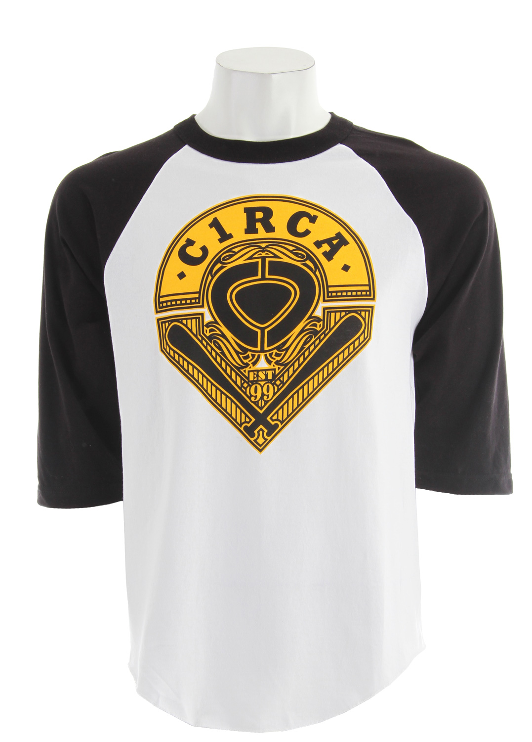 Key Features of The Circa Stadium T-Shirt: Regular Fit Crew Neck Short Sleeve 100% cotton Standard fit 3/4 raglan sleeve - $15.95