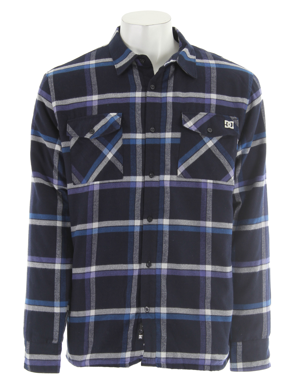 Skateboard Key Features of the DC Elvas L/S Shirt DC Navy: 65% poly/ 35% cotton flannel with 100% poly lining Diamond quilted poly lining Side seam welt pocket Woven clip label at back hem - $33.95