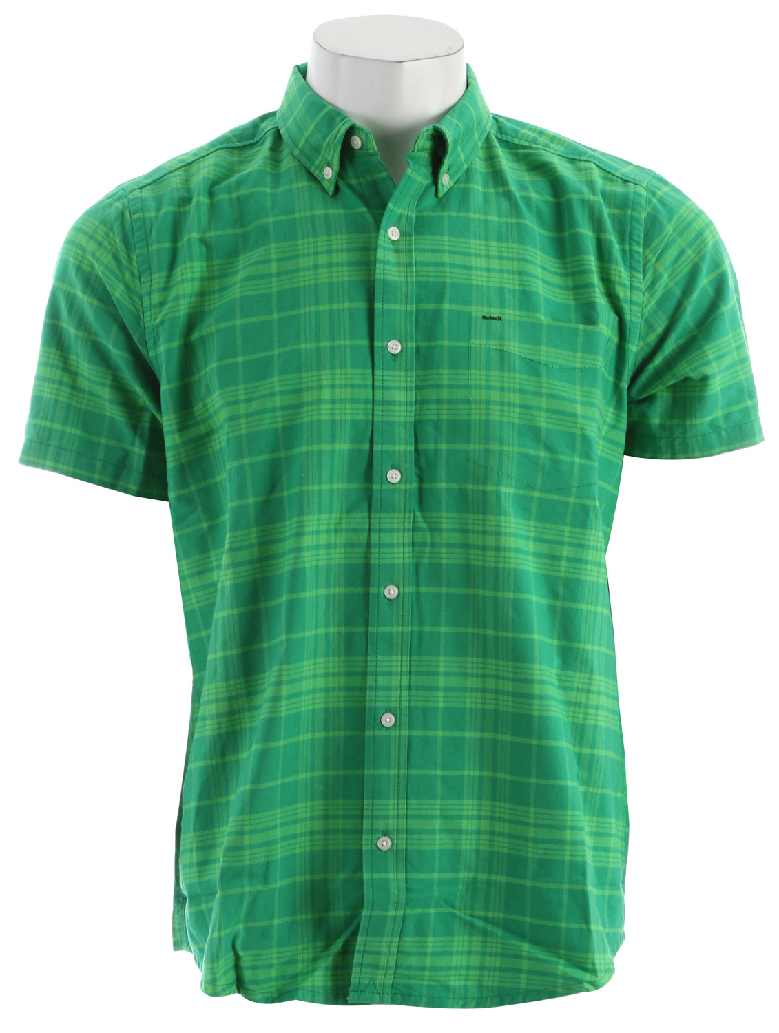 Surf Key Features of the Hurley Ace Oxford Shirt: Regular Fit 100% Cotton Oxford Traditional short sleeve cotton oxford shirt with modern twists Bonded left chest pocket. Pearl button closure and pearl button down collar High density Hurley on left chest pocket, high density color bar under center front placket. - $33.56