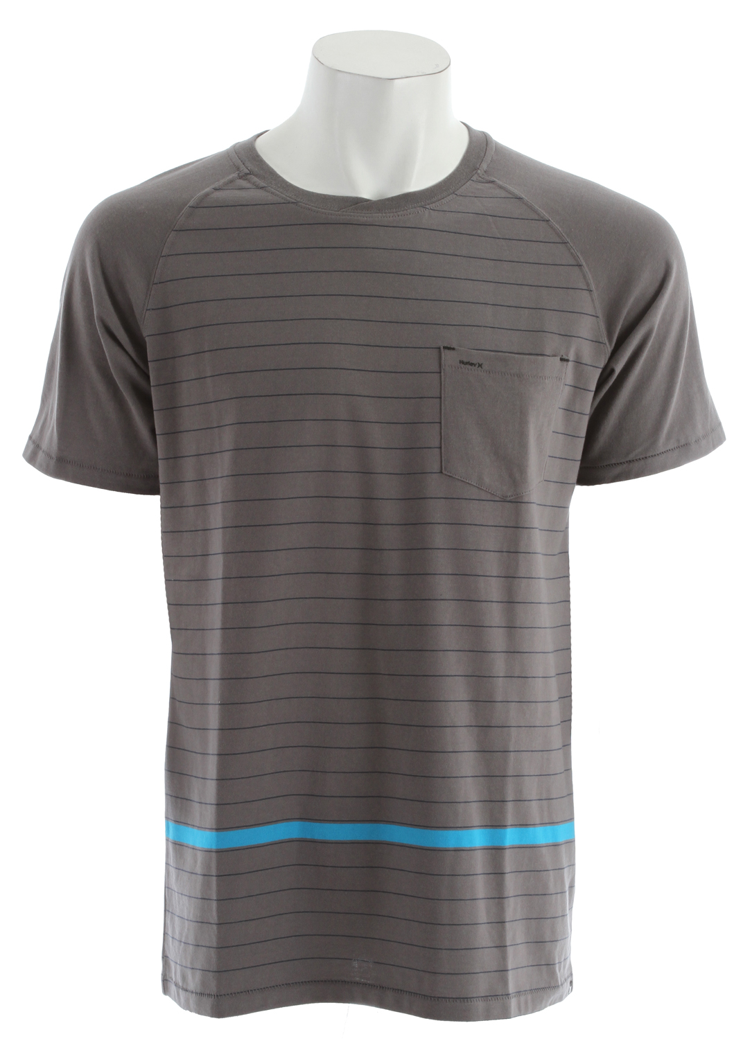 Fitness Key Features of the Hurley Cycle Crew Shirt: Regular Fit 50% Cotton/50% Polyester 170g Jersey Short Sleeve Raglan cut crew neck with engineered striped body with solid raglan sleeve and solid pocket. Hurley high density on pocket and icon clip label at bottom hem. - $24.95