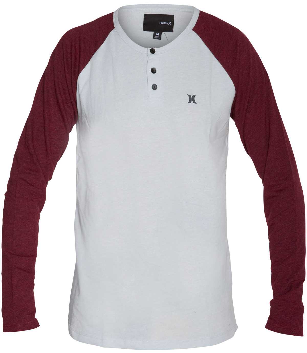 Surf Key Features of the Hurley Infield Henley L/S Shirt: 50% Poly/38% Cotton/12% Rayon lightweight french terry Metal button henley closure Hurley Icon logo - $31.95