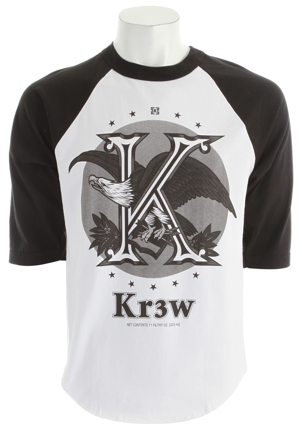 Key Features of The KR3W Cold One 3/4 Reglan T-Shirt: Regular Fit Crew Neck Short Sleeve 100% Cotton Regular Fit Bottom hem flag label - $25.00
