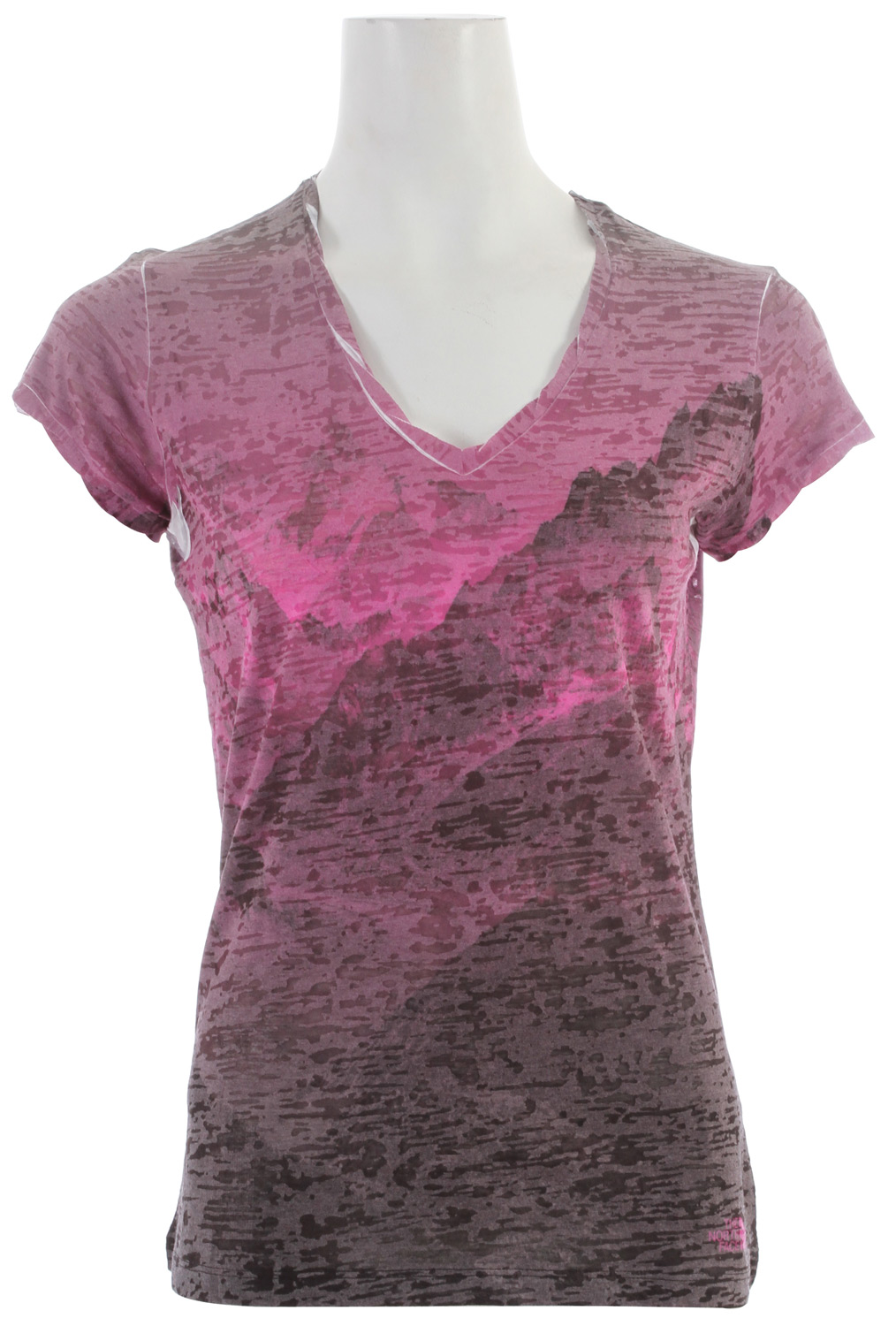 "A great lightweight layering tee with a scooped neck and hem, and an eye-catching burn-out print.Key Features of the The North Face Tadasana Burn-Out Shirt: Regular fit Photo-real sublimationsplash burn-out Twisted sleeve hem and neck trim Center back: 26"" Fabric: 145 g/m2 50% cotton, 50% burn-out jersey - $30.95"