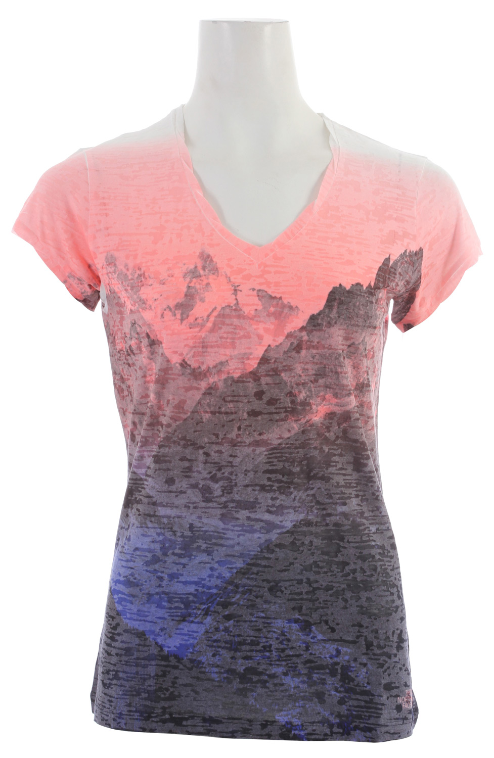 "A great lightweight layering tee with a scooped neck and hem, and an eye-catching burn-out print. Key Features of the The North Face Tadasana Burn-Out Shirt: Regular fit Photo-real sublimationsplash burn-out Twisted sleeve hem and neck trim Center back: 26"" Fabric: 145 g/m2 50% cotton, 50% burn-out jersey - $31.95"