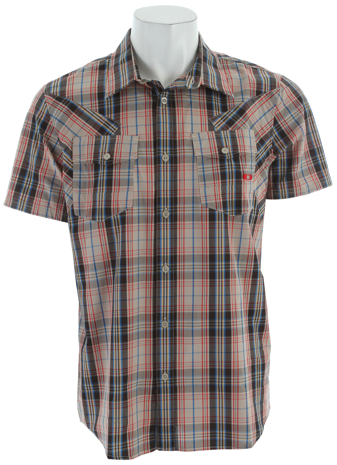 Yarn dye plaid woven shirt with button placket, engineered panel seams, chest pockets, front embroidery and back flag.Key Features of the Oakley O Western Shirt: 100% cotton Regular fit - $34.95