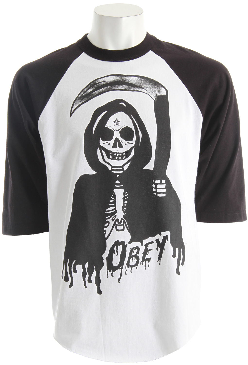 OBEY heavy-weight, regular-fit tee, 3/4 sleeve tee with color-blocked sleeves: 100% cotton. - $15.95