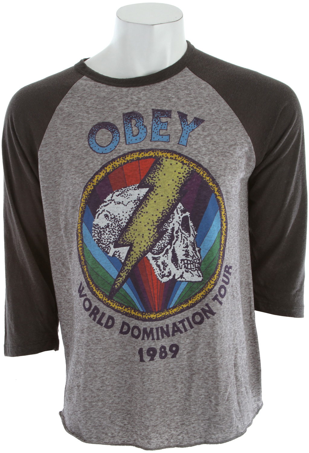 Sports Key Features of The Obey World Tour 1989 T-Shirt: Regular Fit Crew Neck Short Sleeve Lightweight, baseball raglan with graphic screen print on chest Nubby fabric for an extra vintage look and feel Sleeves are 3/4 length 75% polyester/25% cotton - $37.95