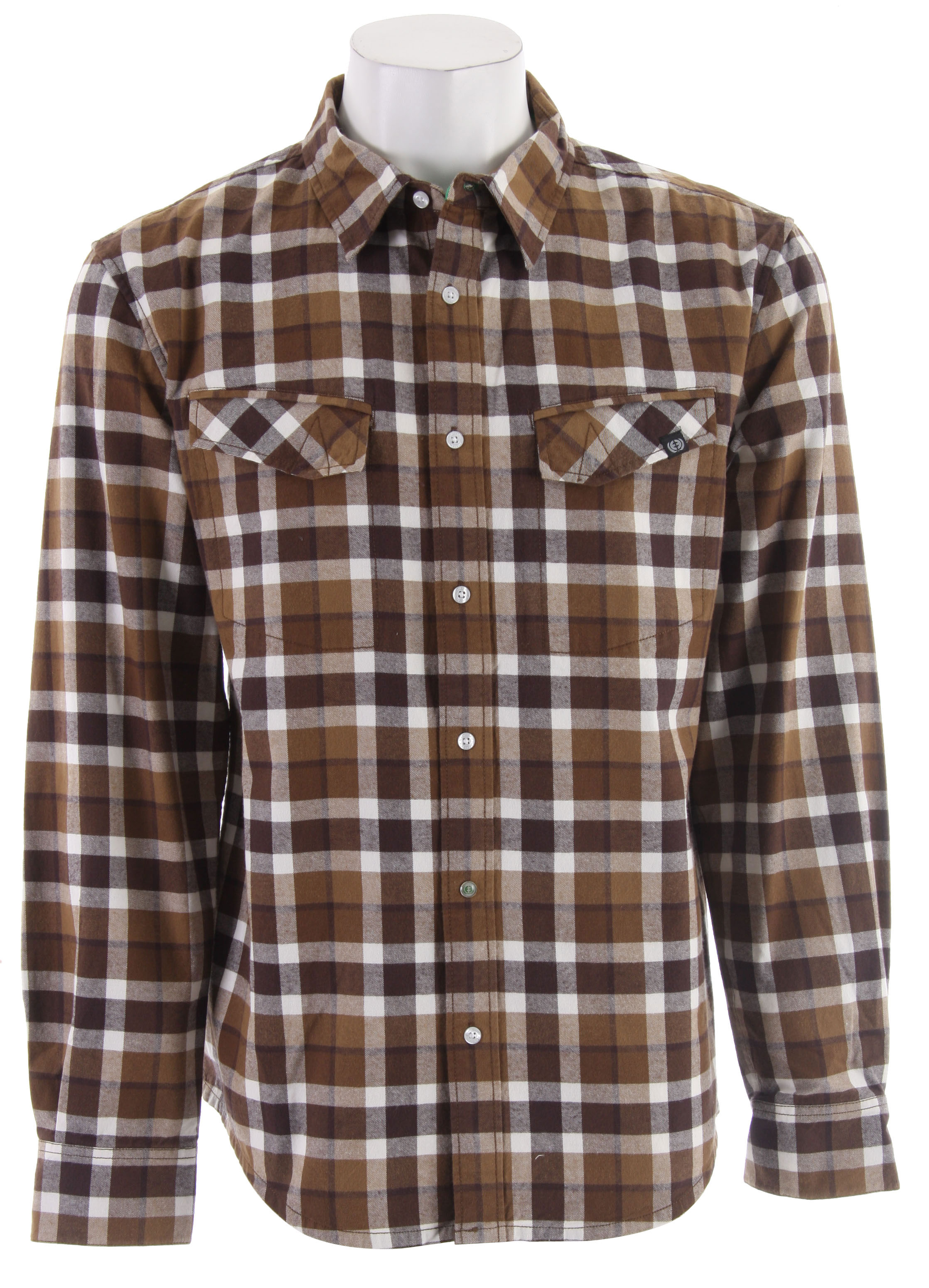 Planet Earth Linier Flannel Shirt Brown - $25.48