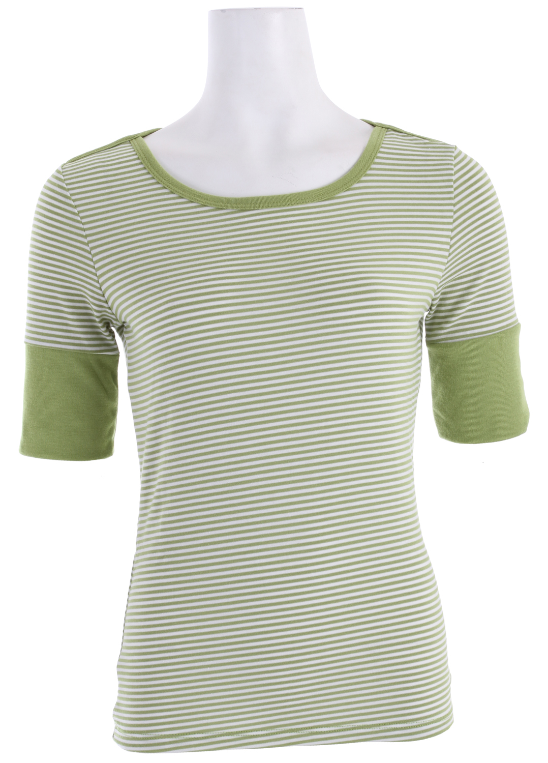 Key Features of the Prana Gina Shirt: Vibrant, garment dyed stripe tee Wide rib cuff finishes the cafe length sleeve Rib binding at neckline and across shoulder White stripes on all colorways - $38.95