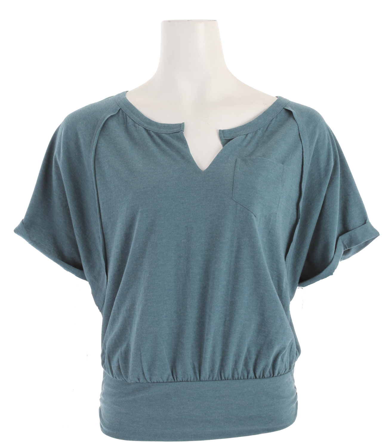 Key Features of the Prana Jessica Shirt: Lightweight jersey Scooped neckline with raw cut slash Rolled raglan sleeve Single front pocket Cut out back detail Shirred waist with band - $38.95