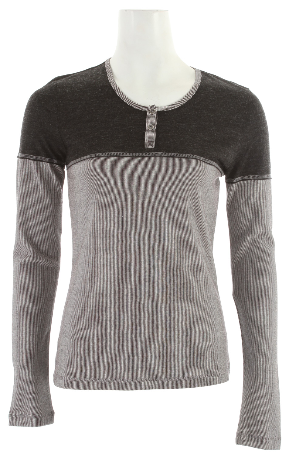 The Pippa's faux shrug shoulders and narrow vertical stripes will lengthen and emphasize slender frames. Soft cotton and wool will keep you comfortable on evening hikes in the woods.Key Features of the Prana Pippa Shirt:  Cotton poly blend, mini stripe top with coordinating wool blend yoke  Reverse coverstitch along collar, yoke, and placket  Raw edge detailing on collar  Body:  70% Cotton / 30% Polyester  Contrast yoke:  70% Acrylic / 30% Wool - $32.95