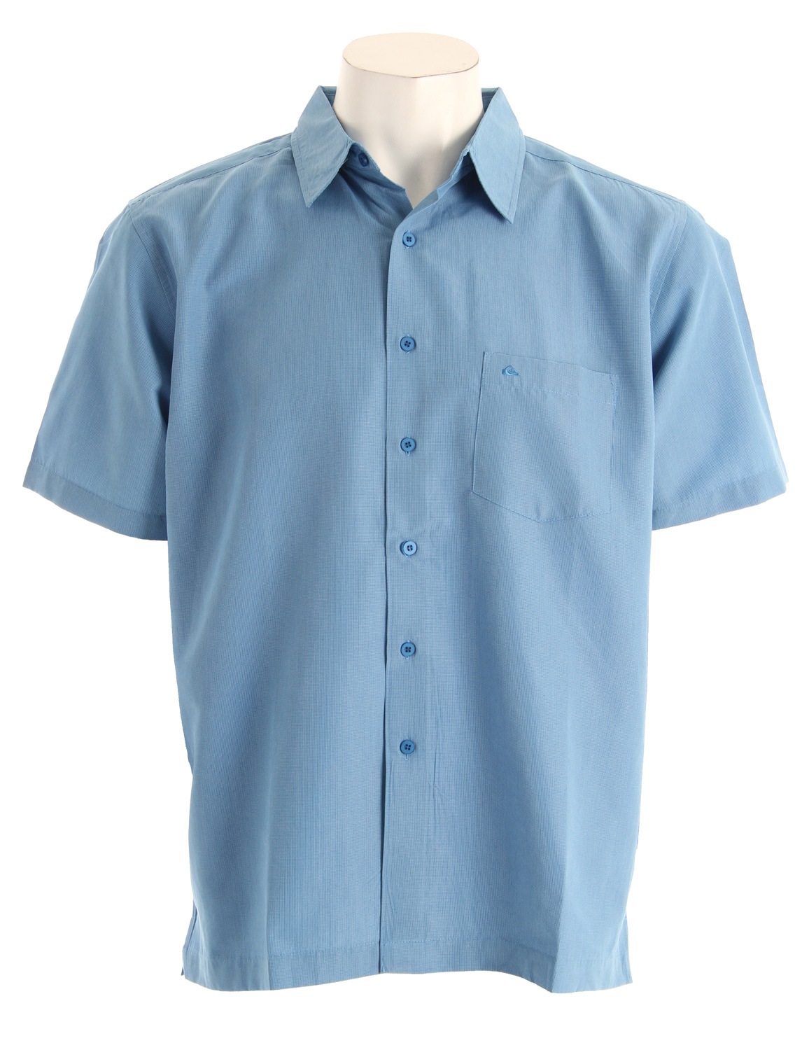 Surf Short sleeve yarn dyed shirt with chest pocket, side vents and mountain & wave embroidery at front pocket. 83% polynosic, 17% polyester - $34.95
