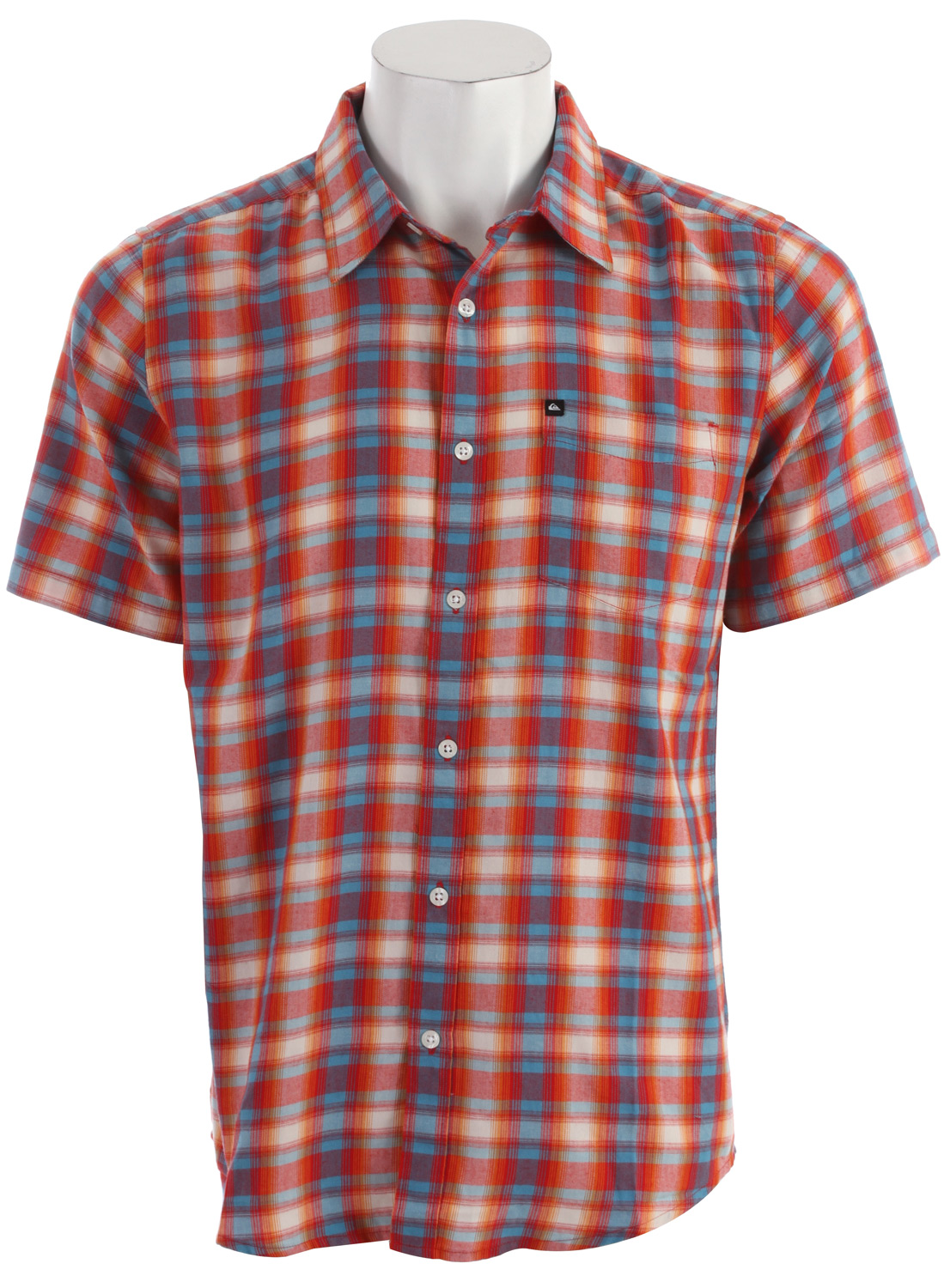 Surf Key Features of the Quiksilver Flash Surf Shirt:  Regular fit  60% cotton 40% polyester blend  S/S yarn dye mid scale hombre plaid  Single pocket  Exterior woven label and branded buttons  Garment wash w/ softener - $35.95