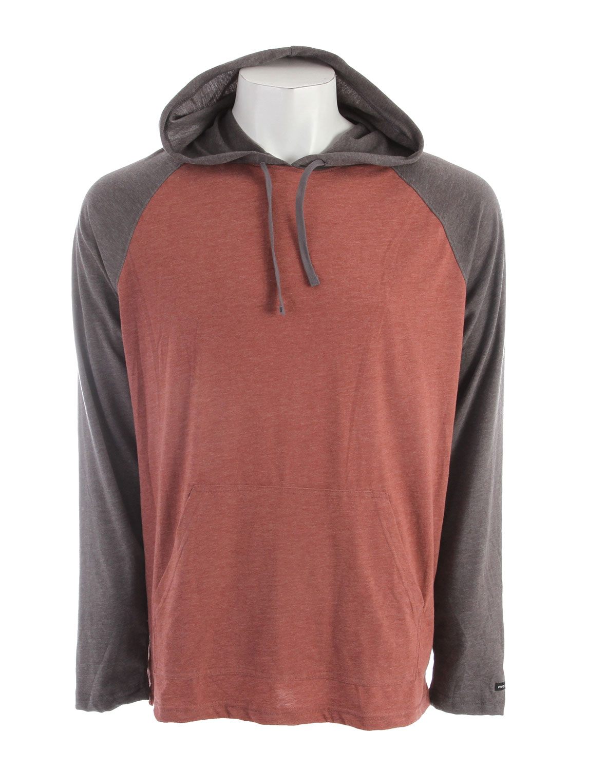 Key Features of the RVCA Castro Raglan: Regular Fit - 55% Cotton/45% Polyester jersey hooded raglan with front pouch pocket RVCA solo label at wearer's left sleeve Contrast hood, sleeves and drawcord. - $24.95