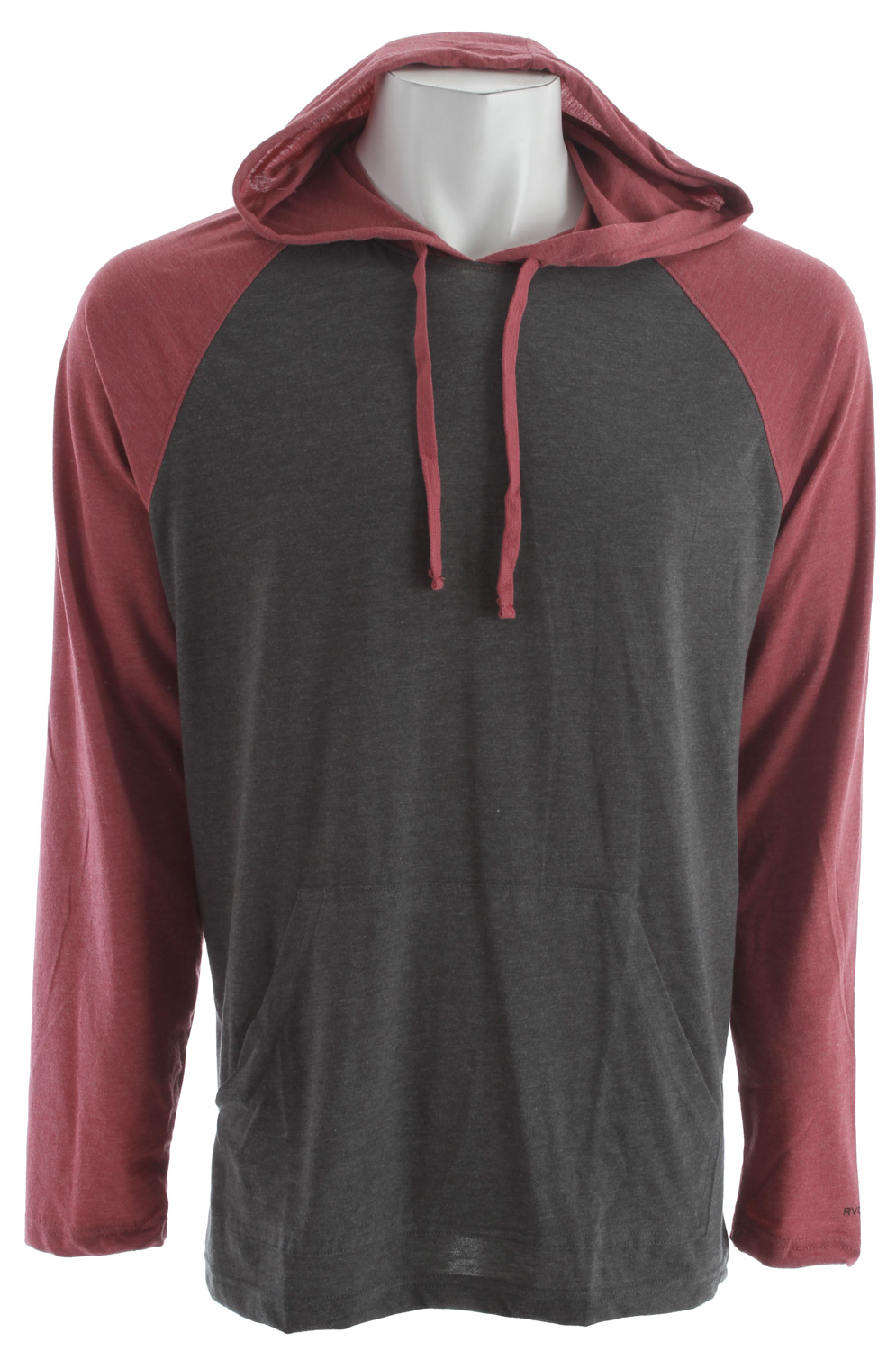 Key Features of the RVCA Castro Raglan Shirt: Regular fit 50% cotton/50% polyester jersey Hooded raglan with front pouch pocket RVCA screenprinted logo at wearer's left sleeve Contrast hood, sleeves and drawcord - $23.95
