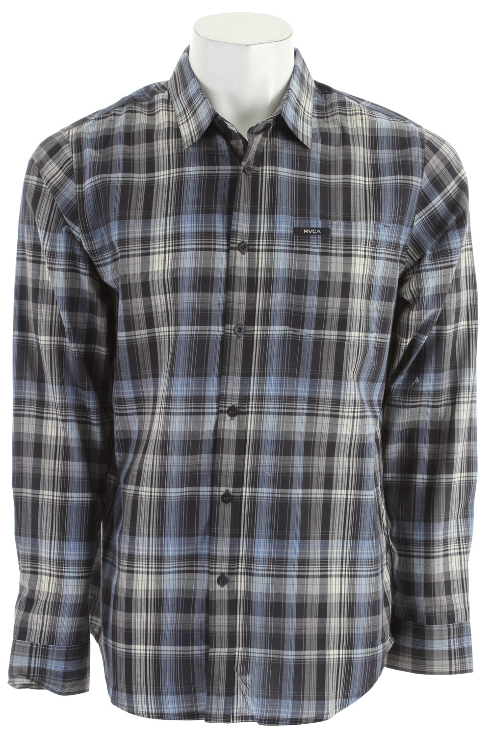 Guns and Military Key Features of the RVCA Cationic L/S Shirt: Slim fit 60% cotton/40% polyester poplin yearn dyed plaid Long sleeve woven button down shirt One patch pocket at left chest with RVCA printed patch Binding and taping details at side seams - $35.95