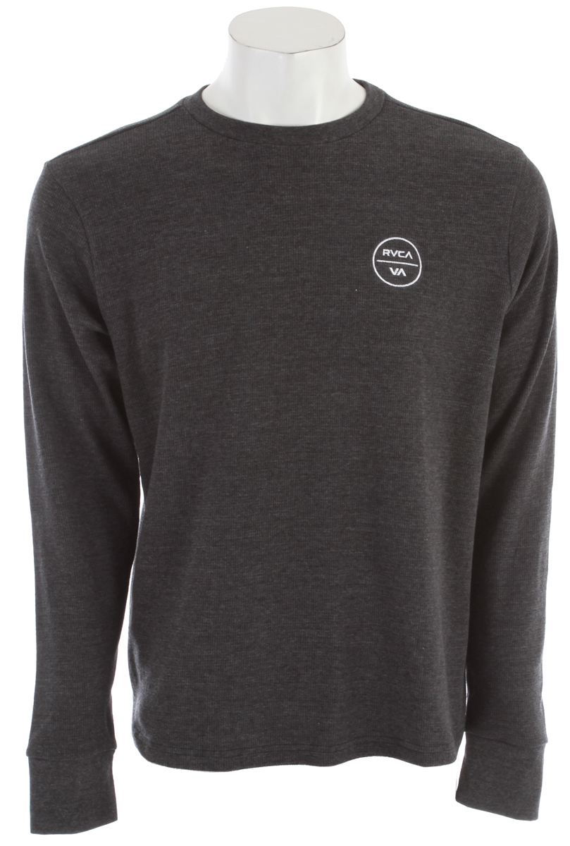 Key Features of the RVCA Circle Logo Sweatshirt: 50% Cotton/50% Polyester long sleeve crew neck thermal. Front left chest embroidery with inside neck print. - $23.95