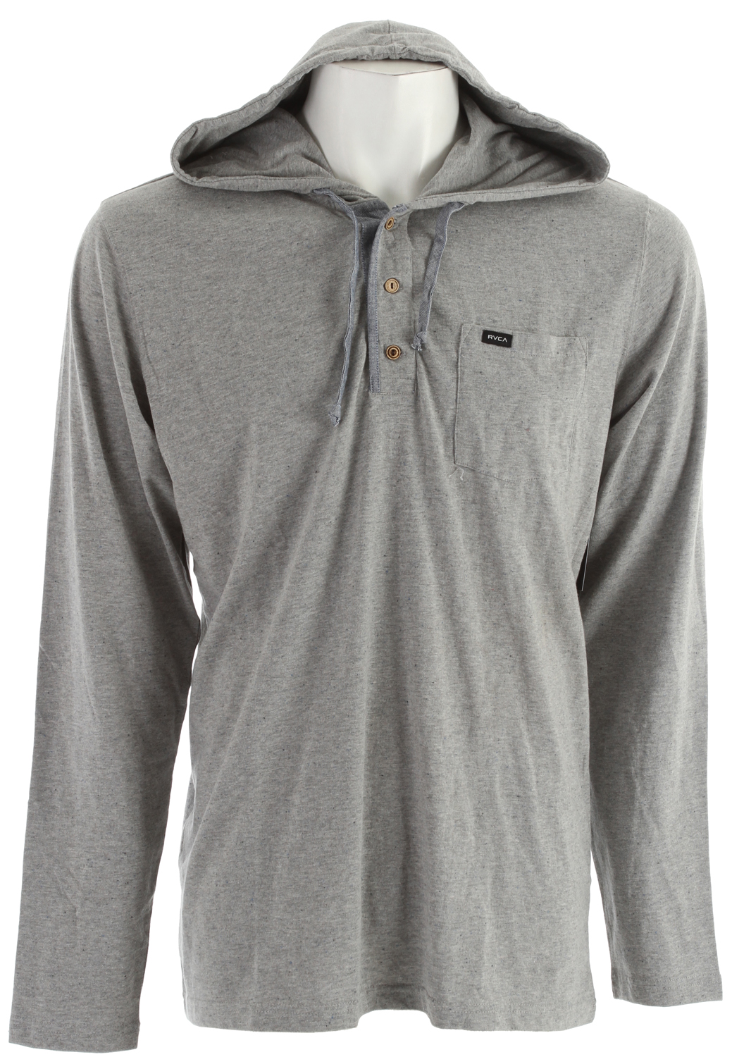 Key Features of the RVCA Liability Hood Henley Shirt: Regular fit 88% cotton/9% viscose/3% polyester yarn dyed speckled jersey Long sleeve pullover hood with drawcord Three wooden button Henley placket with chambray trim detail Self fabric elbow patches and patch pocket at left chest with RVCA solo label - $27.95