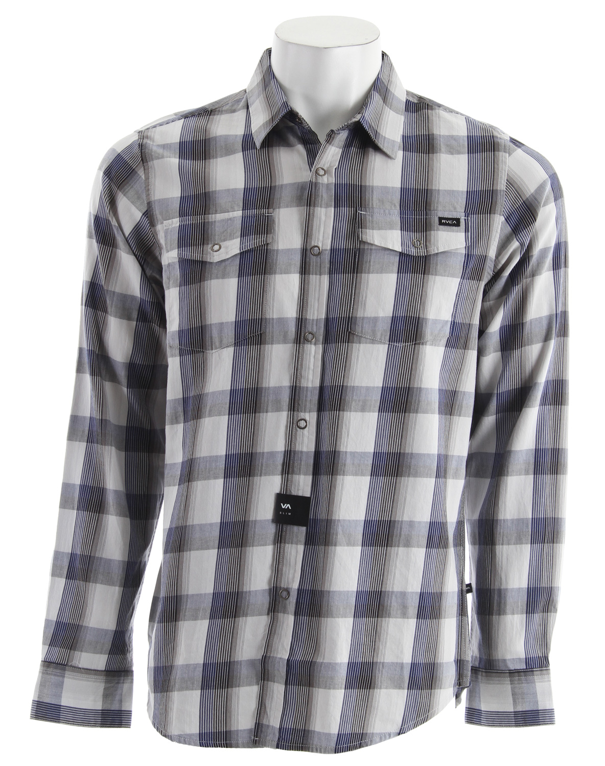 Key Features of the RVCA Noah Plaid L/S Shirt: Slim fit - cotton baby twill mercerized woven long sleeve shirt with ring snaps Two front pockets with flap and snaps RVCA woven label at left front pocket VA Flag label at bottom left side - $39.95