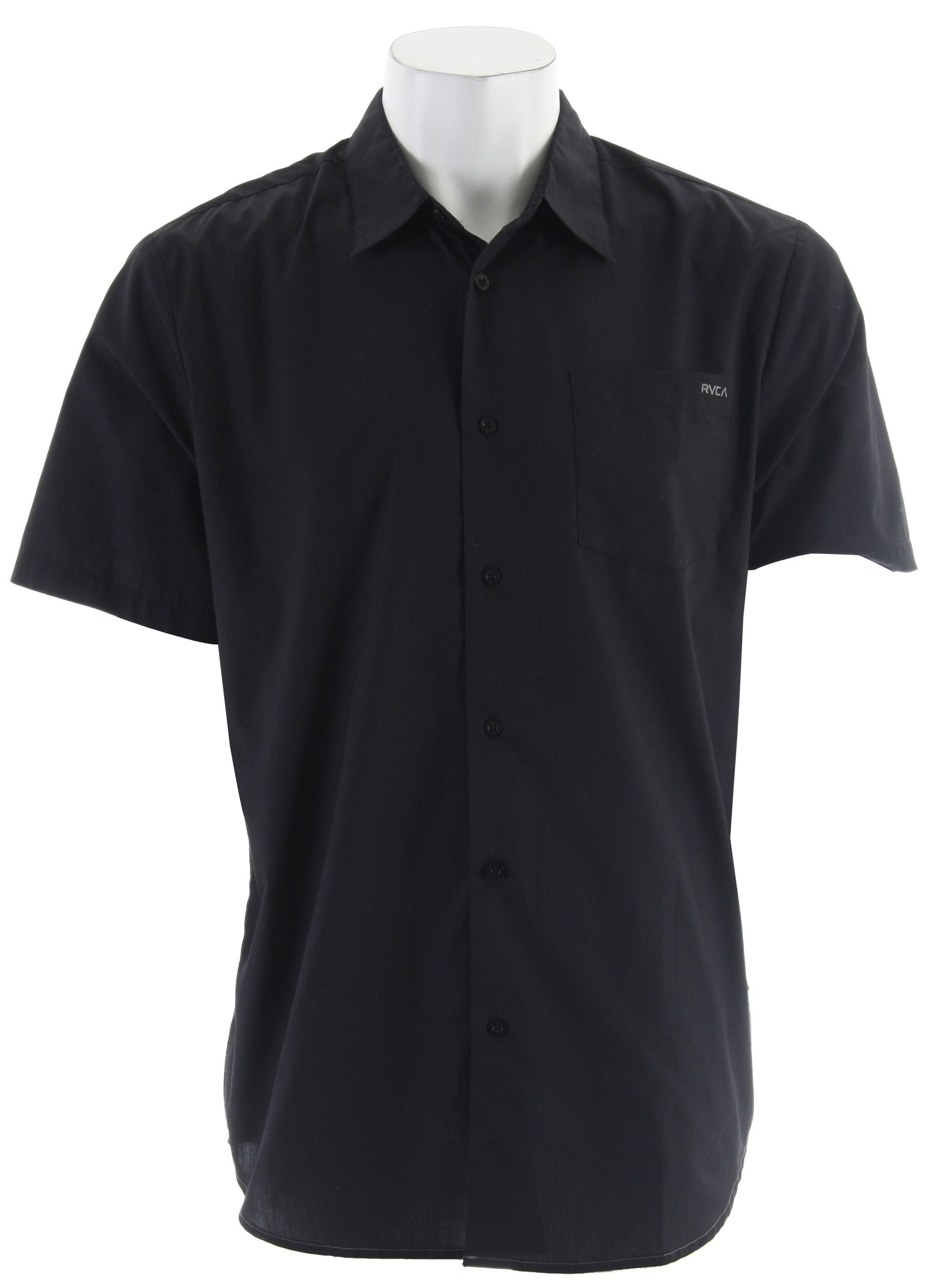Key Features of the RVCA Republic S/S Shirt: Cotton/Polyester Short Sleeve Button Down Patch Pocket At Left Front Chest RVCA Embroidery At Left Chest Pocket VA Flag Label At Bottom Left Side Slim Fit - $26.95
