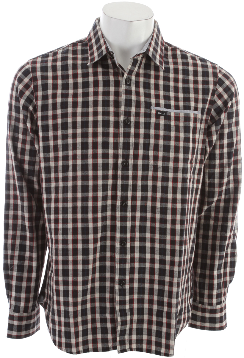 Key Features of the RVCA Portman L/S Shirt: Regular Fit - 100% Cotton Yarn dye Plaid. Long sleeve woven button down shirt. One patch pocket at left front with RVCA solo label and contrast binding. Contrast fabric at inside yoke, collar stand, under collar, interior cuff, interior front placket, interior sleeve placket and triangle tab at lower side seam. - $37.95