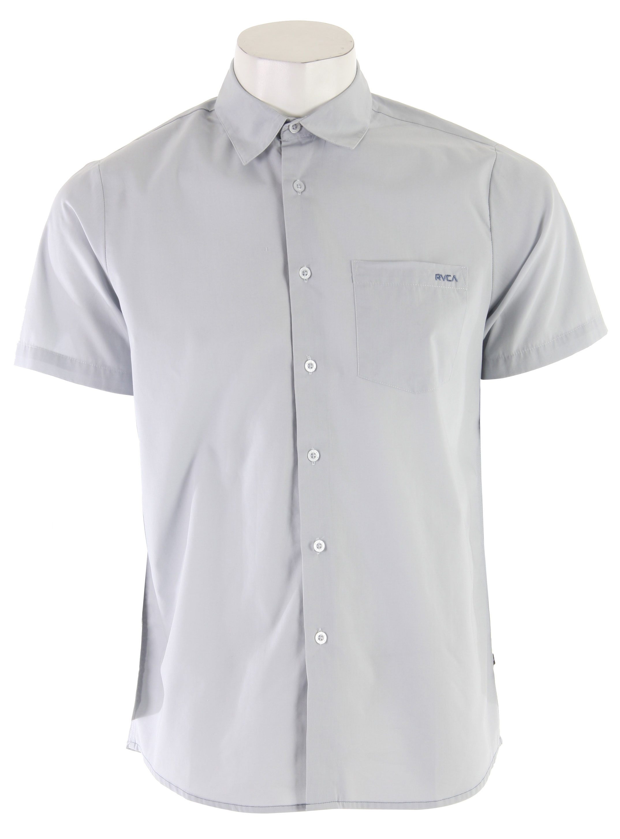 Surf The RVCA Republic S/S Shirt offers a combination of classic and casual design. Made with cotton and polyester, this short sleeve button down shirt brings you that crisp summer look. Wear it casually with shorts and a pair of sandals and you're ready to hit the park or fancy it up a bit by wearing it with a pair of linen trousers and you're ready to hit a fancy luncheon. So versatile and practical, mix it up every now and then and you'll see how timeless the RVCA Republic S/S Shirt really is.Key Features of the RVCA Republic S/S Shirt: Cotton/Polyester long sleeve button down Patch pocket at left front chest RVCA embroidery at left front pocket VA flag label at bottom left side Slim Fit - $26.95