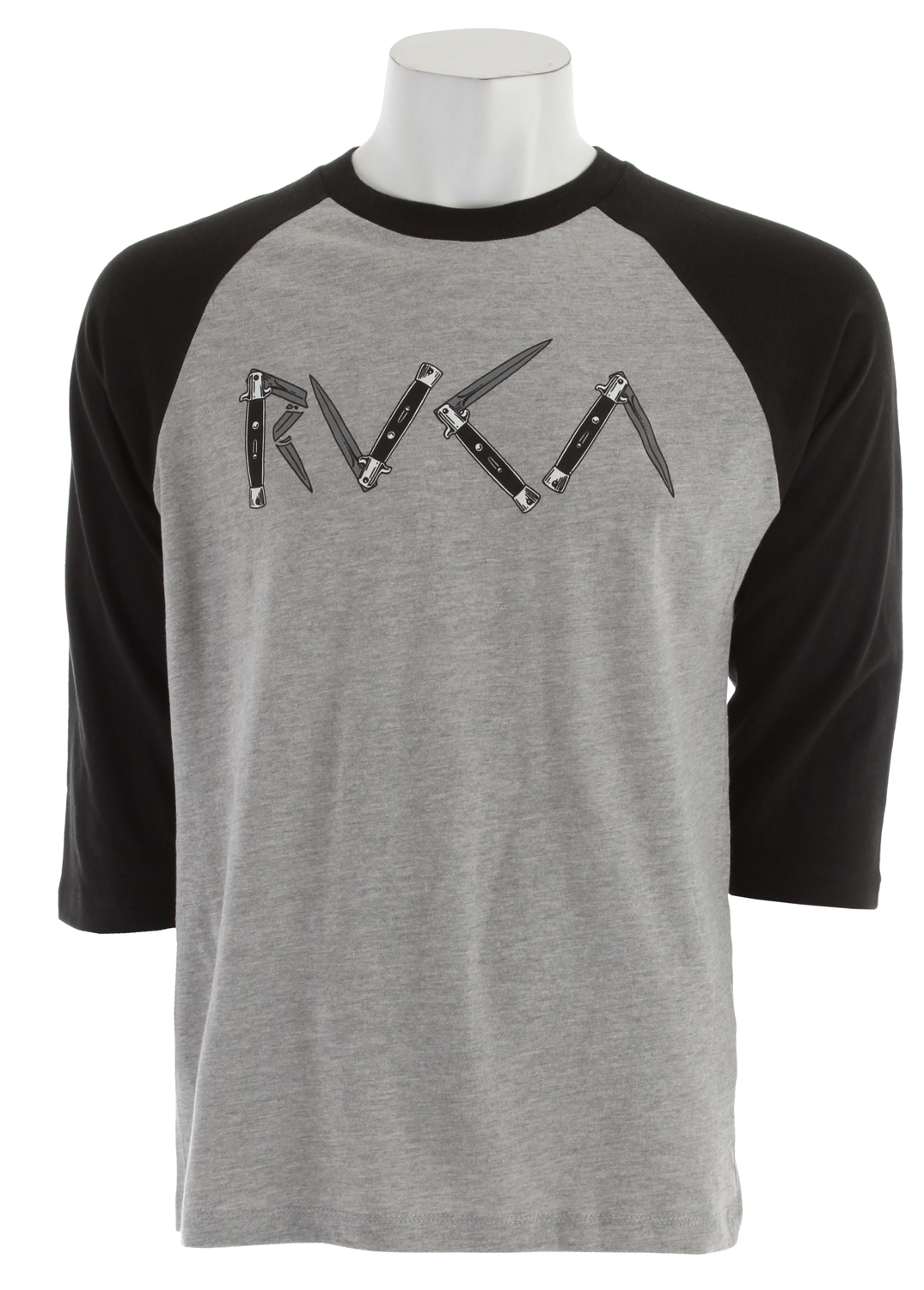 Sports Key Features of The RVCA Switchblade Raglan Shirt Athletic Heather/Black: Regular Fit Crew Neck Raglan 30/1 100% cotton 3/4 baseball raglan Front screenprint and screened inside neck - $23.95