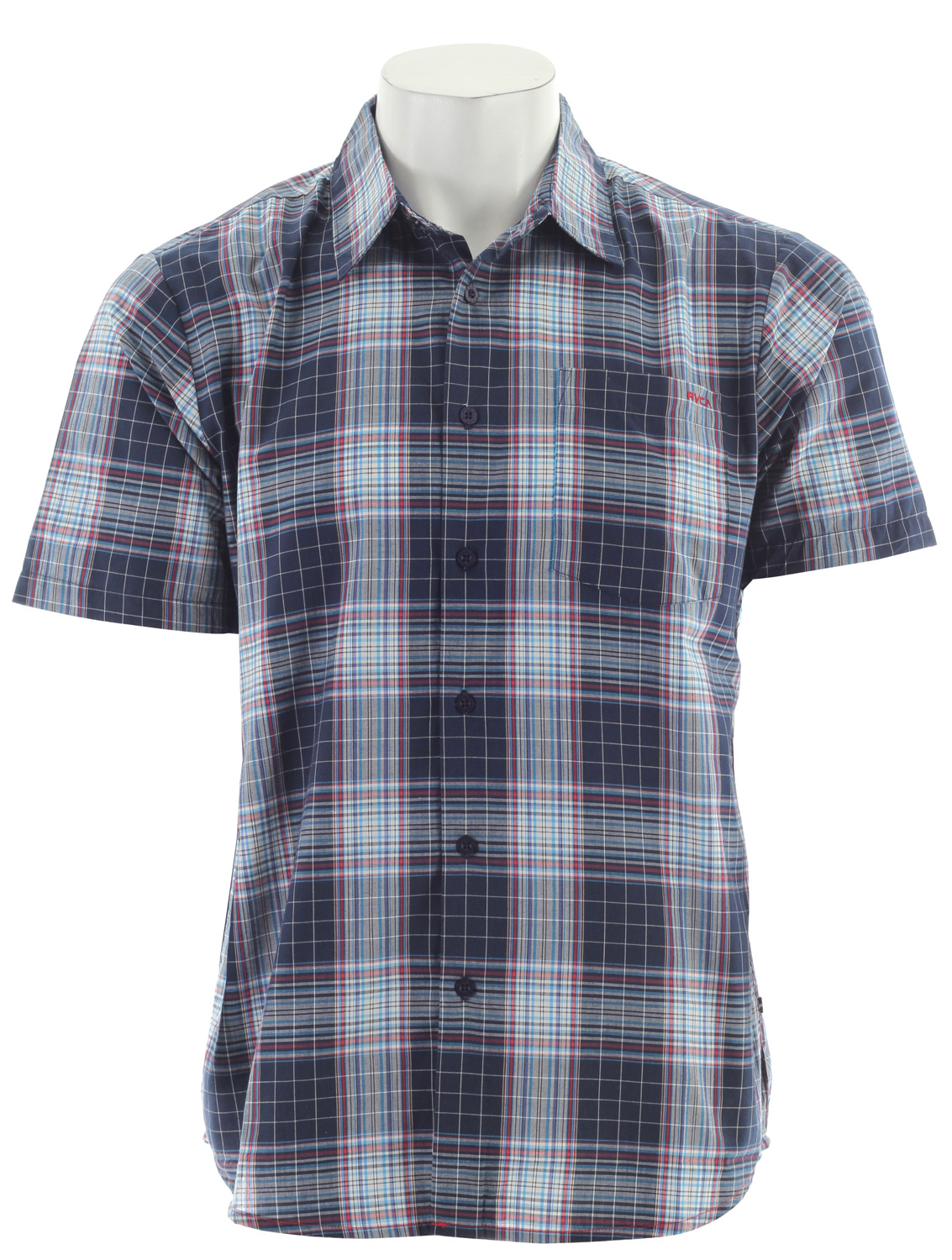 Key Features of the RVCA Spectrum Plaid S/S Shirt: Regular Fit- Cotton/Polyester Yarn-Dyed Plaid Short Sleeve Button Down Shirt Patch Pocket At Left Chest RVCA Embroidery At Front Left Pocket VA Flag Label At Bottom Left Side - $28.95