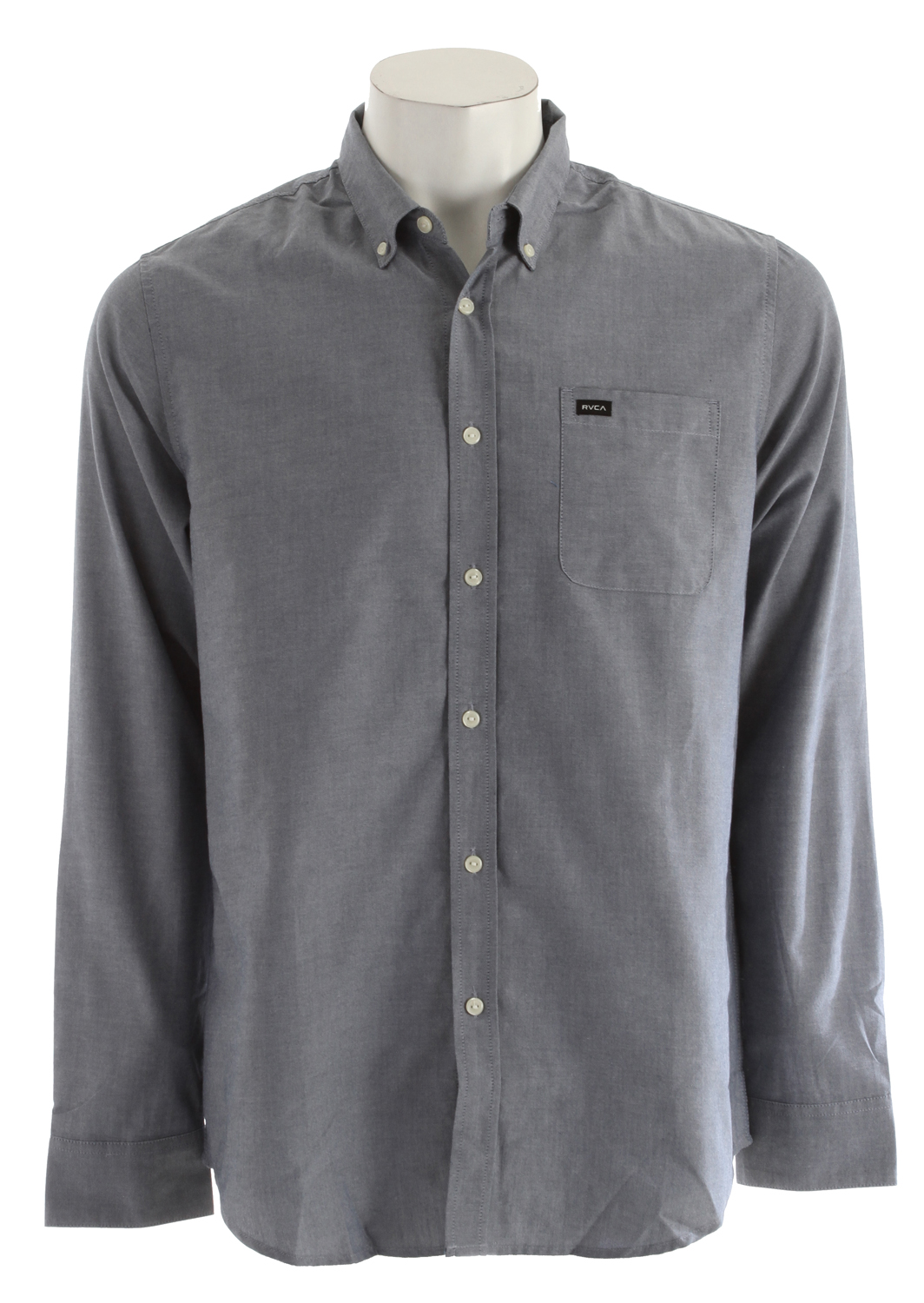 Key Features of the RVCA That'll Do Oxford L/S Shirt: Slim fit 6-% cotton/40% polyester oxford Long sleeve woven button down shirt One patch pocket at left chest with RVCA solo label Buttons at collar points - $37.95