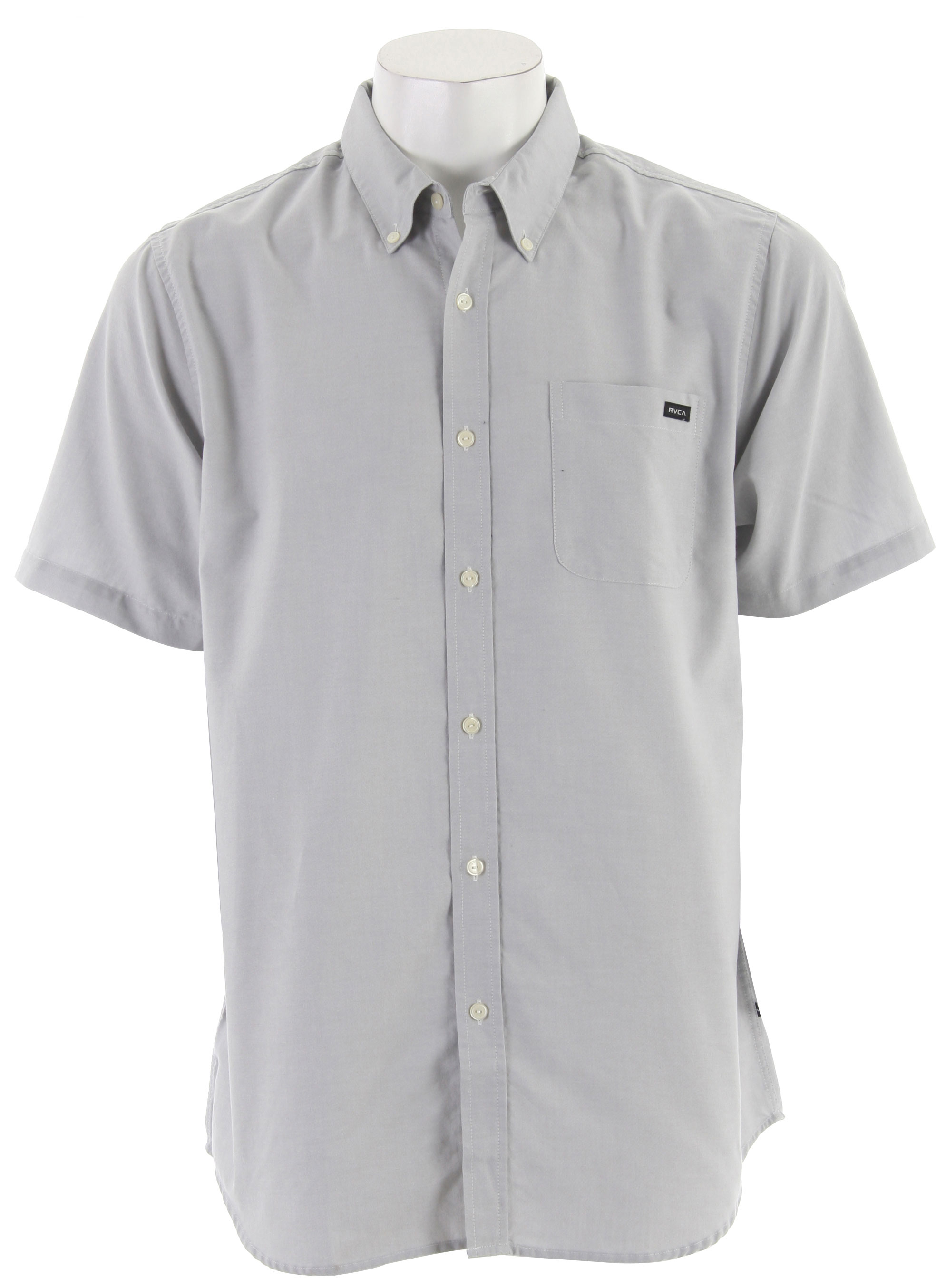 Key Features of the RVCA That'll Do Oxford S/S Shirt: Slim Fit Cotton Oxford Short Sleeve Button Down Patch Pocket Left Front Chest Buttons At Collar Points RVCA Woven Label At Front Pocket VA Flag Label At Bottom Left Side - $30.95