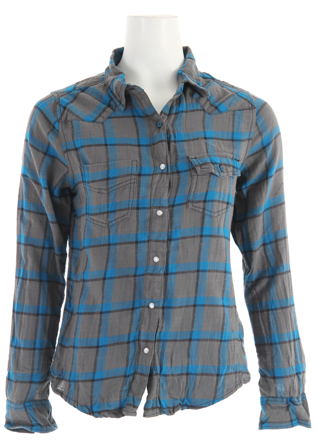 Surf Key Features of the Roxy Foggy Harbor Shirt: Cool color and western whimsy work their magic to create a shirt that's down to ride Includes a snap front and chest pockets 26-inch length 100% cotton slub yarn dye plaid Machine wash - $30.95