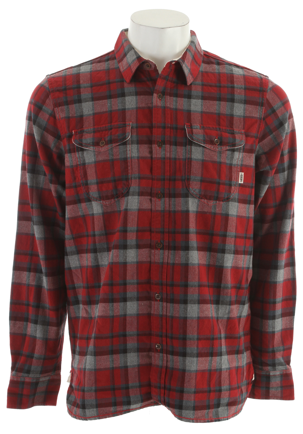 Skateboard Key Features of the Vans Avert Shirt: 100% Cotton long sleeve canvas weave plaid woven Japanese workwear-inspired double front chest pockets with Vans flag label Scallop hem with twill detail at side seam, inside back yoke, and collar stand Vans patch label inside placket One-piece self bias patch sewn over back yoke Enzyme Wash Classic Fit - $37.95