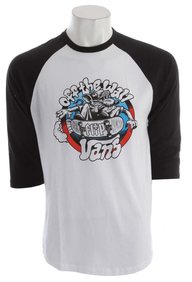 "Skateboard Key Features of the Vans Cruise Or Lose Raglan:  50% Cotton 50% Polyester 3/4 sleeve raglan with contrast sleeves  Vans x Flip ""Cruise or Lose"" graphic printed on front chest. - $18.95"