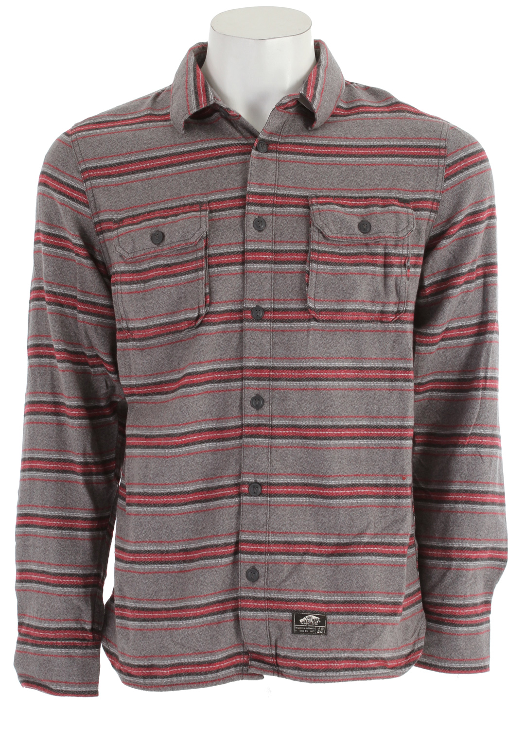 Skateboard Key Features of the Vans Marr Flannel Shirt: 100% Cotton long sleeve unbrushed ? annel with double chest pockets with Vans ? ag label Tahoe trim fabric at inner yoke Vans clamp label on bottom placket V-stitch detail on back yoke Slim Fit - $33.95