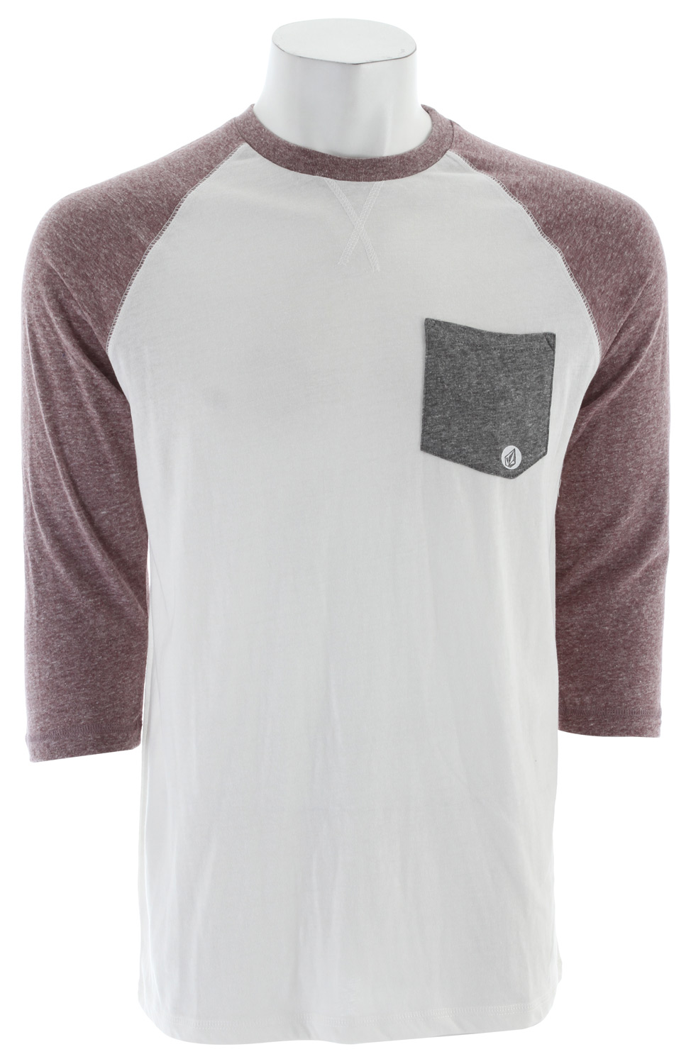Surf Key Features of The Volcom Base Line 3/4 Sleeve Raglan Off White: Slim Fit Crew Neck Raglan 3/4 sleeve Contrast pocket & sleeves 65% recycled cotton/35% polyester - $24.95