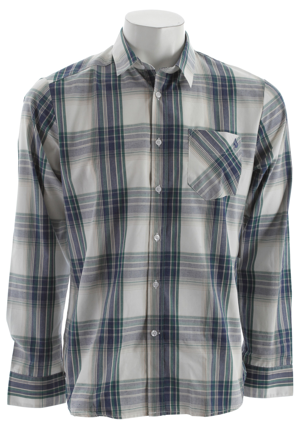 Surf Key Features of the Volcom Ex Factor Plaid L/S Shirt: Classic fit Asymmetric back yoke Front shoulder drop Stone embroidery Solids: 55% cotton/45% polyester poplin Heathered: 65% polyester/ 35% cotton poplin - $34.95