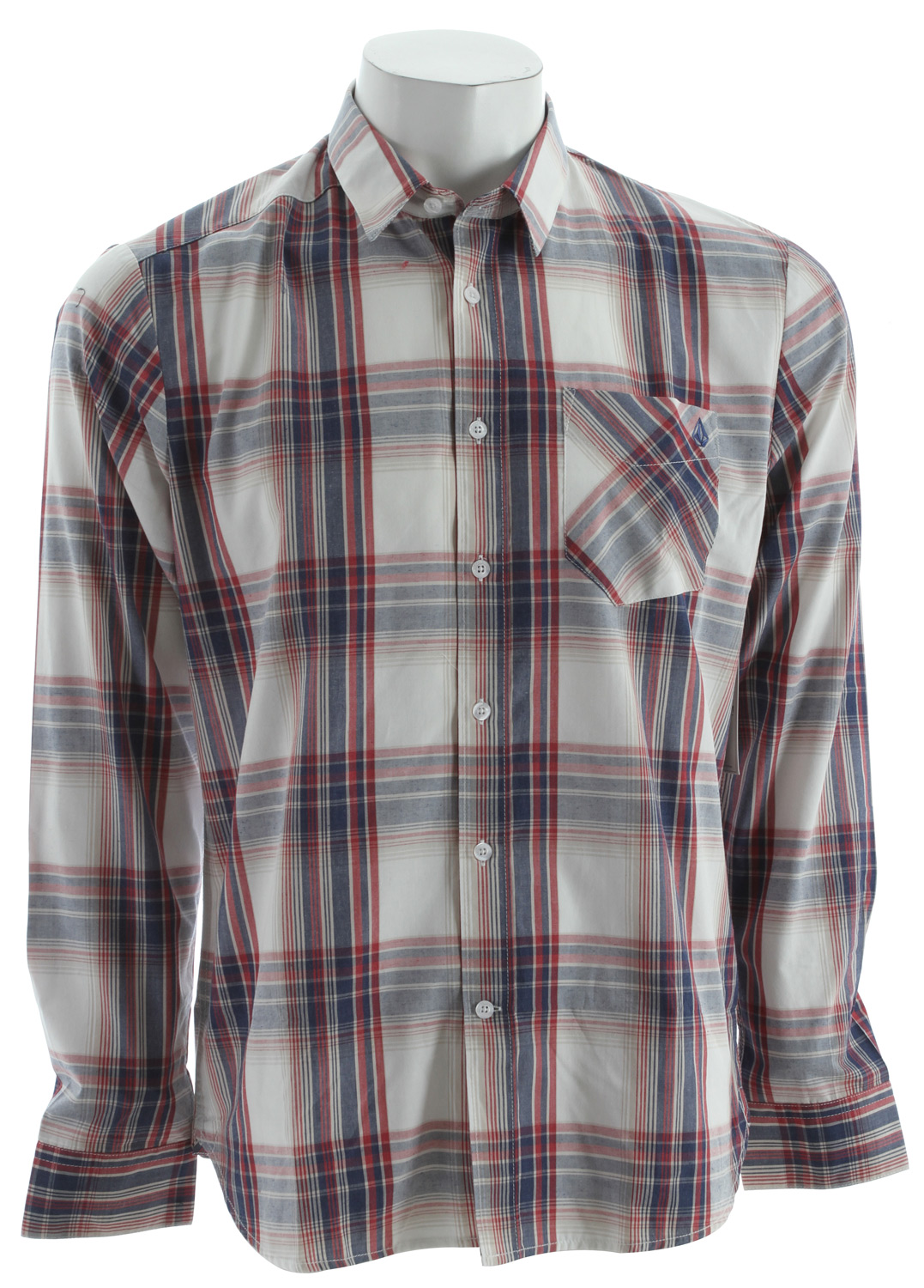 Surf Volcom Ex Factor Plaid L/S Shirt Dust Red - $37.95