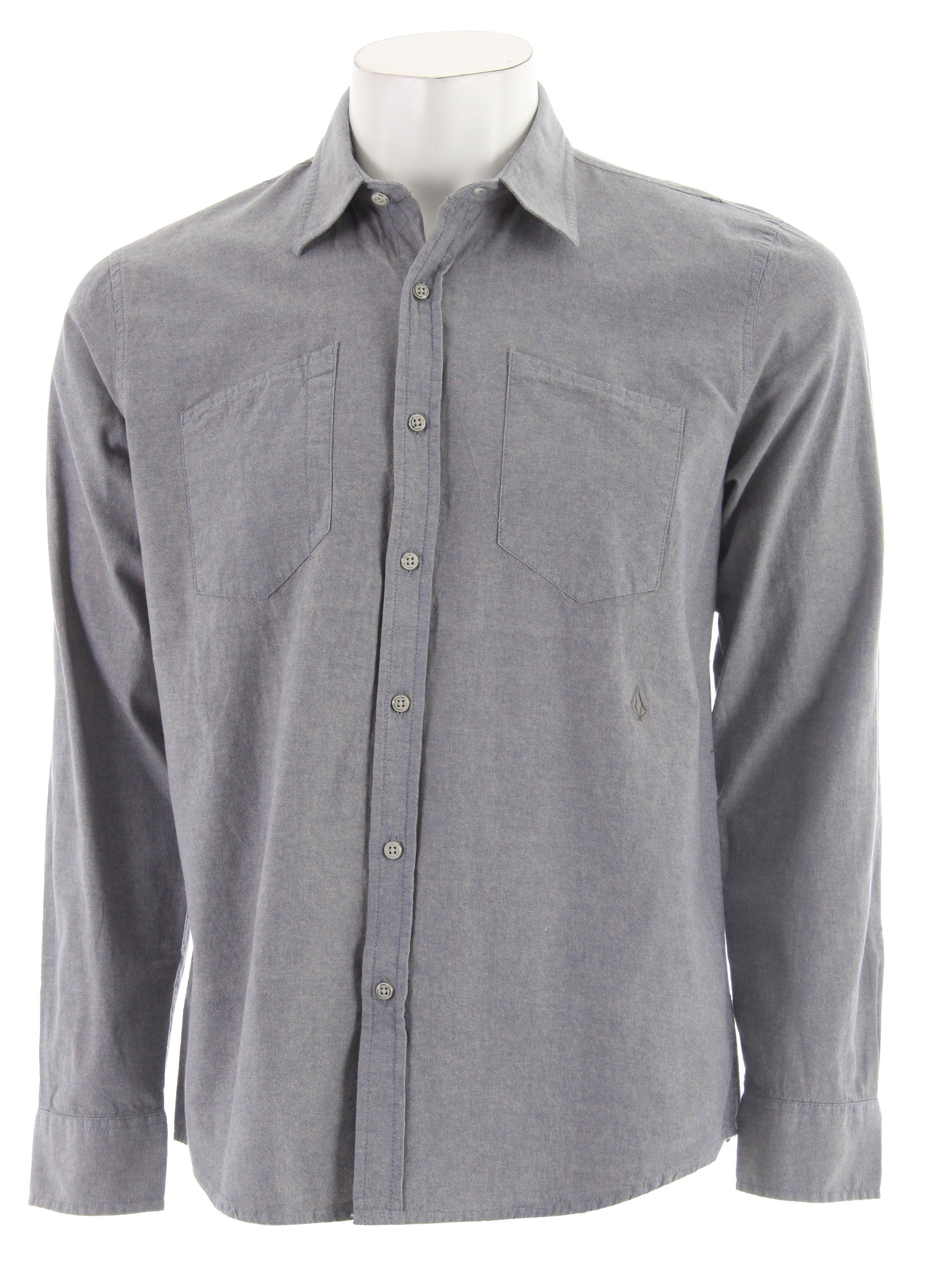 Surf Key Features of the Volcom Lodger Chambray Shirt: Workwear Style Long Sleeve Chambray. Double Chest Patch Pockets Hidden Button Down Collar Metal Buttons 100% Cotton - $28.76