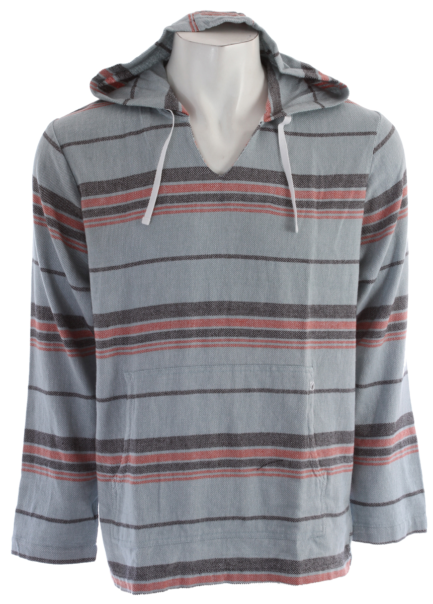 Surf Key Features of the Volcom Litz L/S Shirt: Hooded pullover Pouch pocket Stone clamp label at back hem 100% Cotton Yarn Dye Stripe Twill Weave Core Collection - $44.95