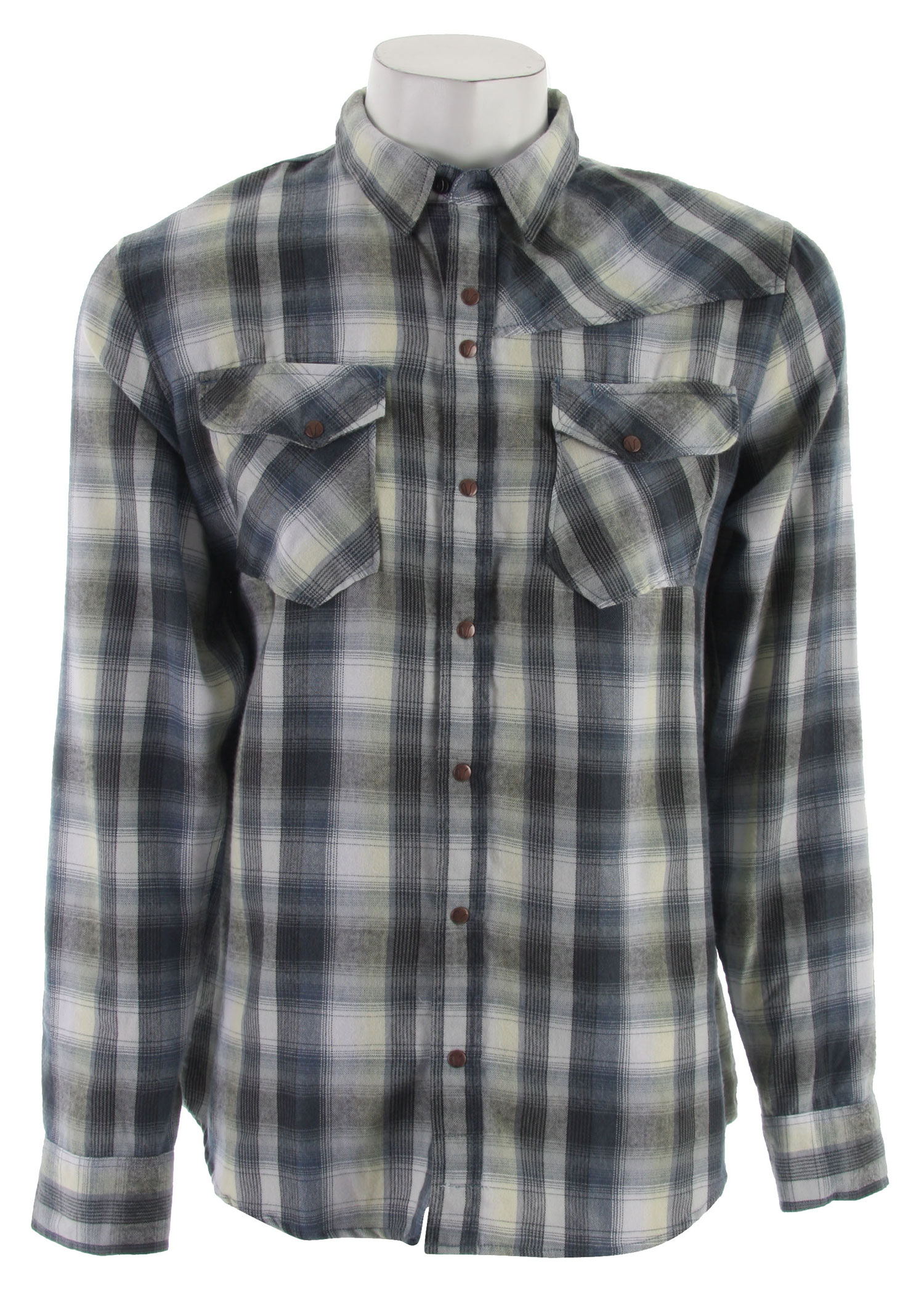Entertainment Just because you're bent on smashing the status quo doesn't mean you have to part with tried and true traditions like the classic flannel shirt. The Volcom Refract L/S Shirt is a testament to the fact that even extreme sport fans love laid-back style. The long sleeved snap up flannel Refract shirt for guys proves that great fashion doesn't have to try hard. Yoked back and dropped front shoulder give this 65/35 poly/rayon Volcom shirt a classic fit and enviable look while dual snap flap pockets on the chest provide a place to stash the good stuff.Key Features of the Volcom Refract L/S Shirt: Classic fit flannel with double chest pockets Bias cut back yoke and front shoulder drop 65% Polyester/35% Rayon - $37.95