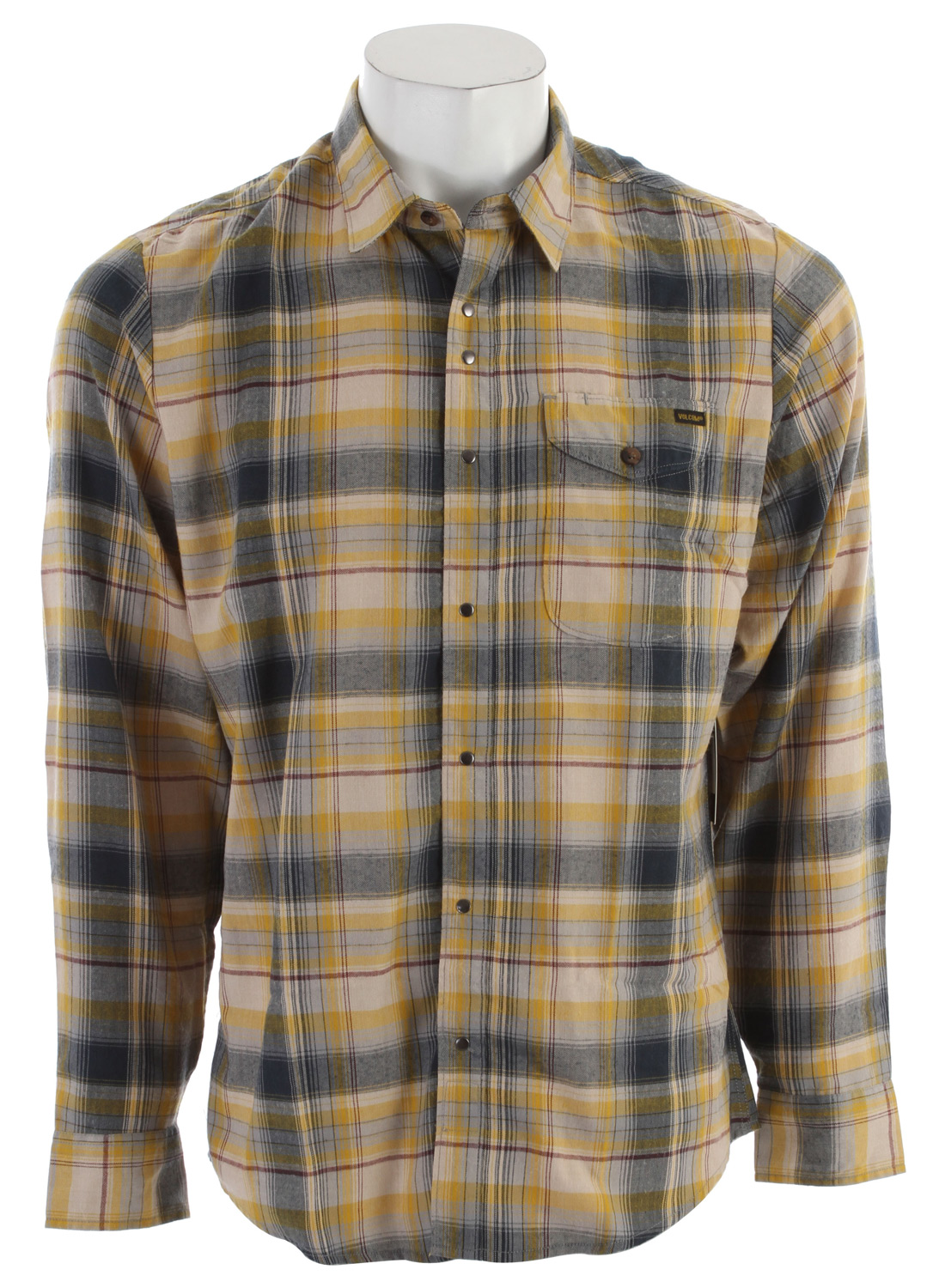 Surf Key Features of the Volcom Wanton L/S Shirt: Classic fit Center front snap closure Chambray contrast inner collar and yoke detail Workwear tab label 65% polyester/35% rayon brushed yarn dye plaid with herringbone stripe Workwear Collection - $41.95