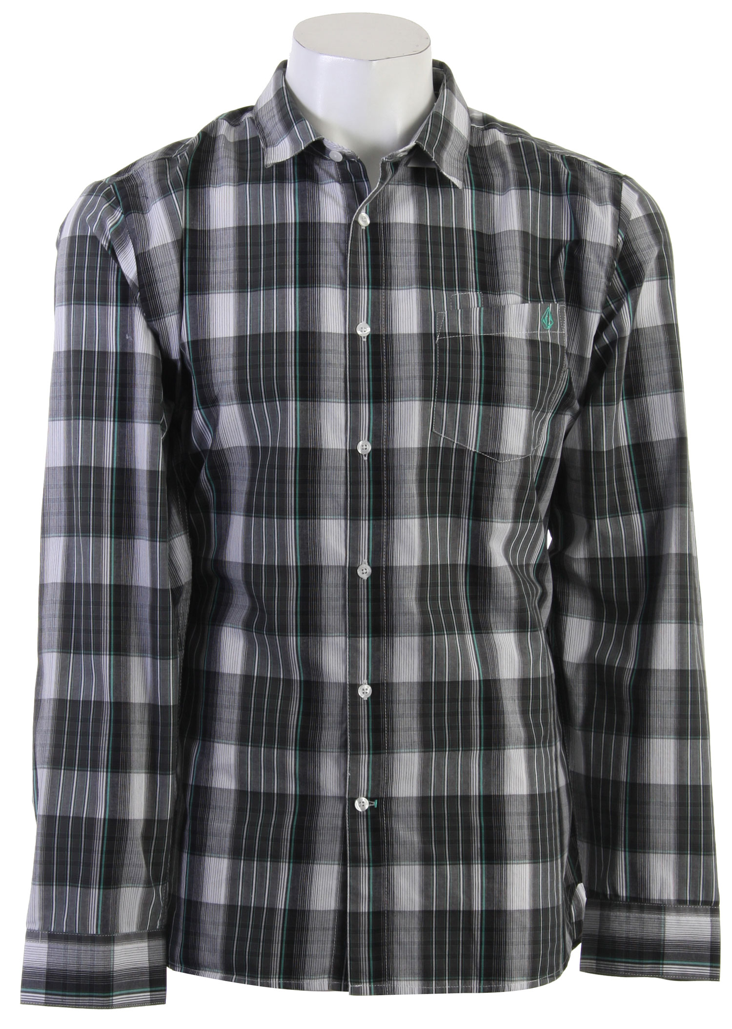 Surf Key Features of the Volcom X Factor Plaid L/S Shirt: Classic Fit Shirt With Contrast Inner Yoke Pen Slot Detail at Pocket, and Stone Embroidery Garment Wash Corpo Collection - $25.95